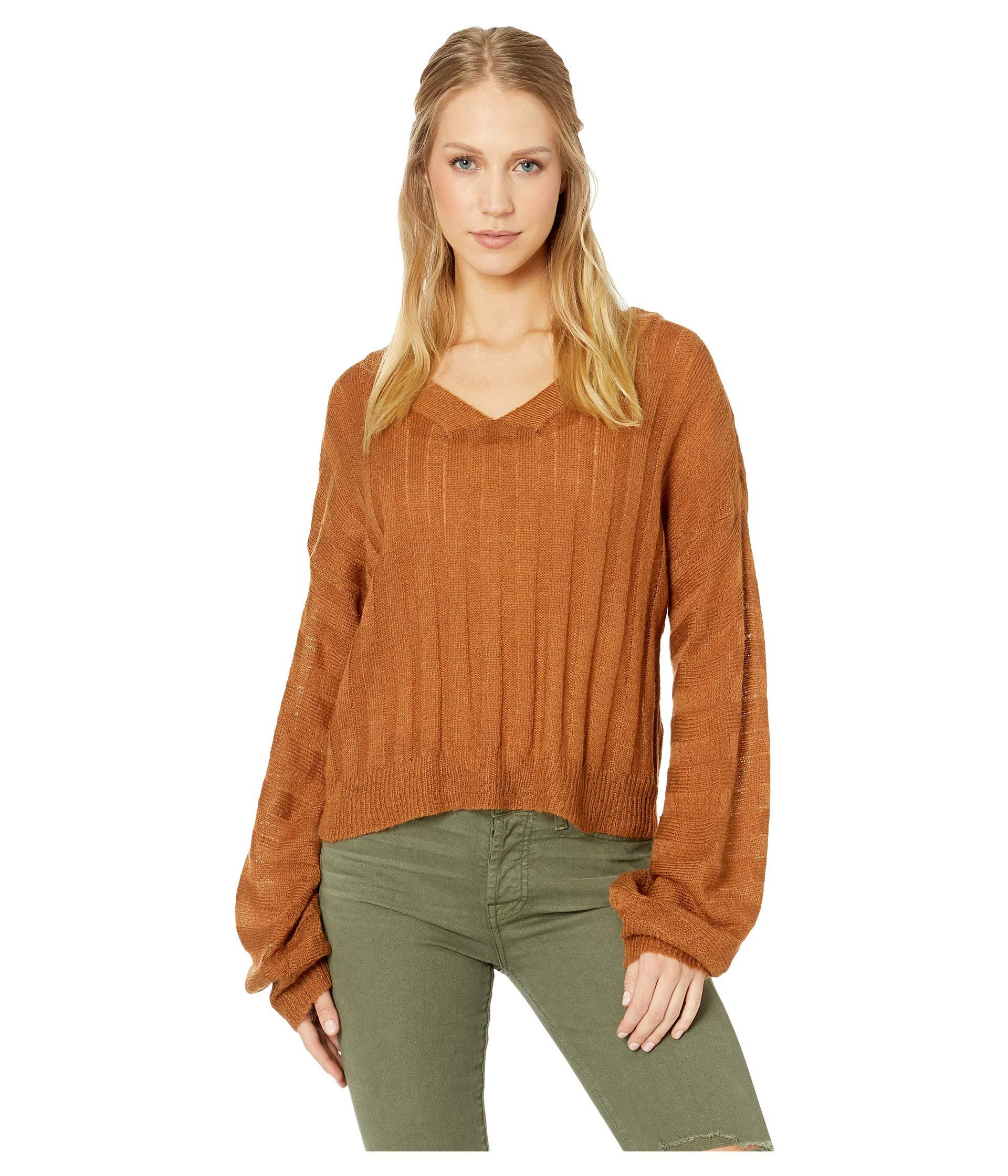 17bdb746b8a4 Lyst - Moon River Wide Rib V-neck Sweater in Brown
