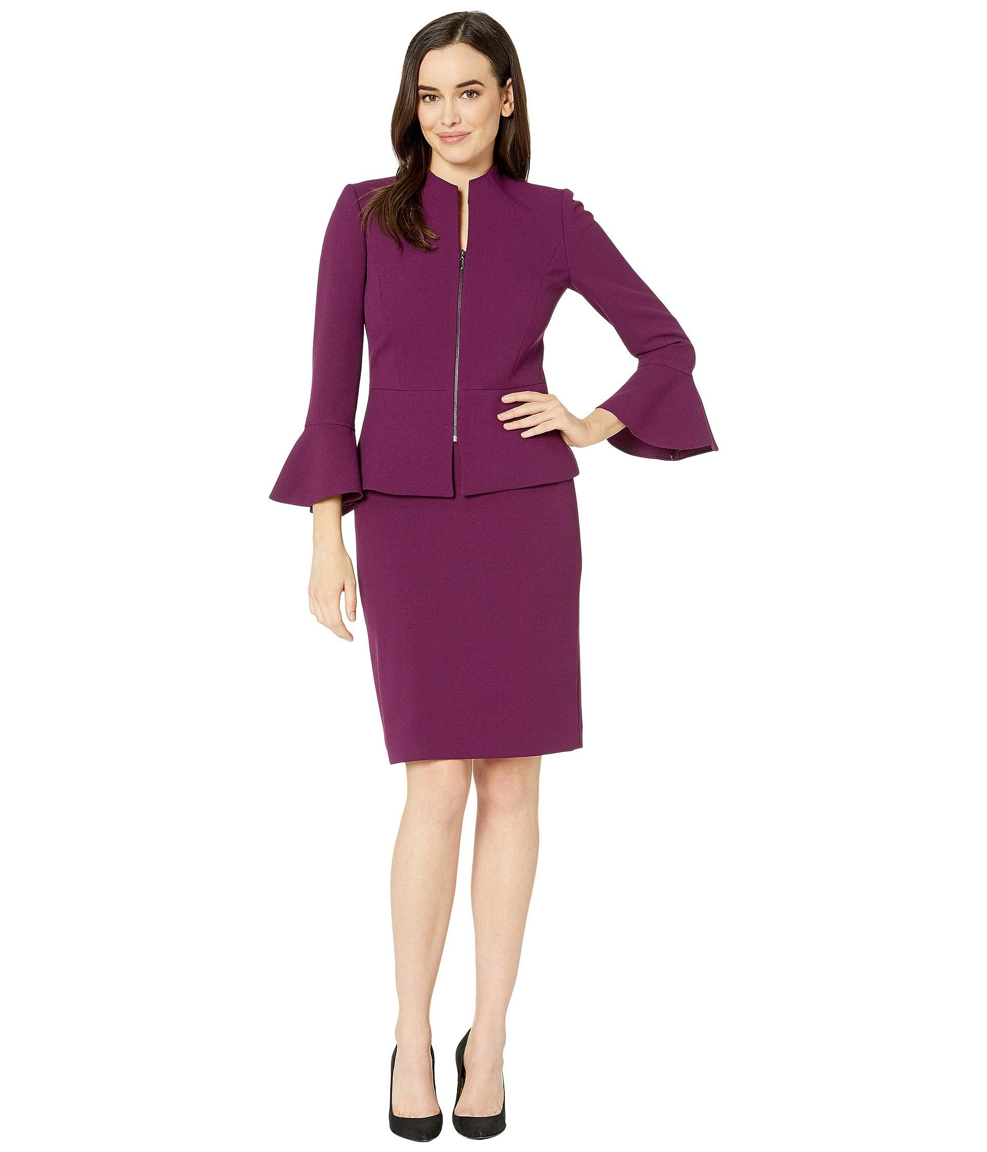bac6560c887a Lyst - Tahari Skirt Suit With Collarless Jacket in Purple