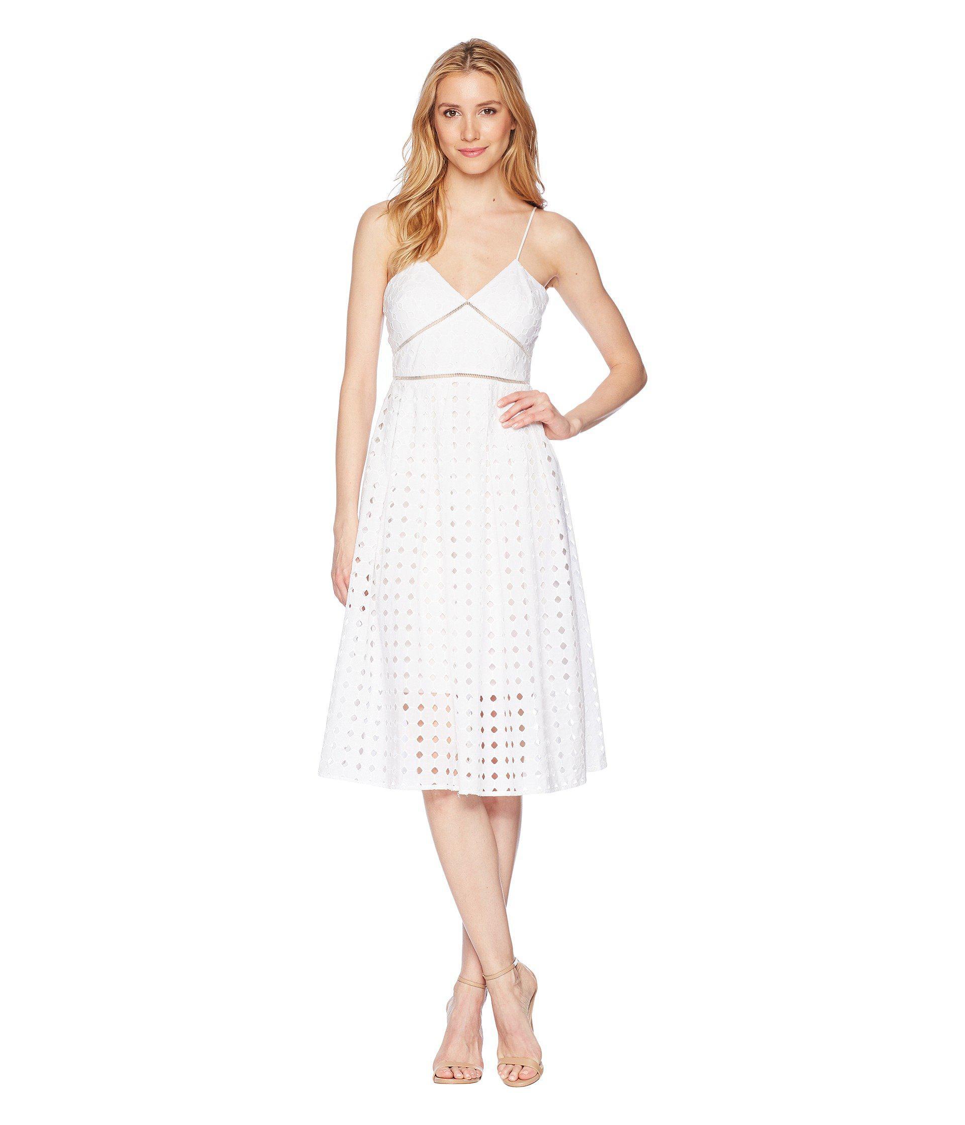 Donna Morgan Women S White Spaghetti Strap Eyelet Midi Dress