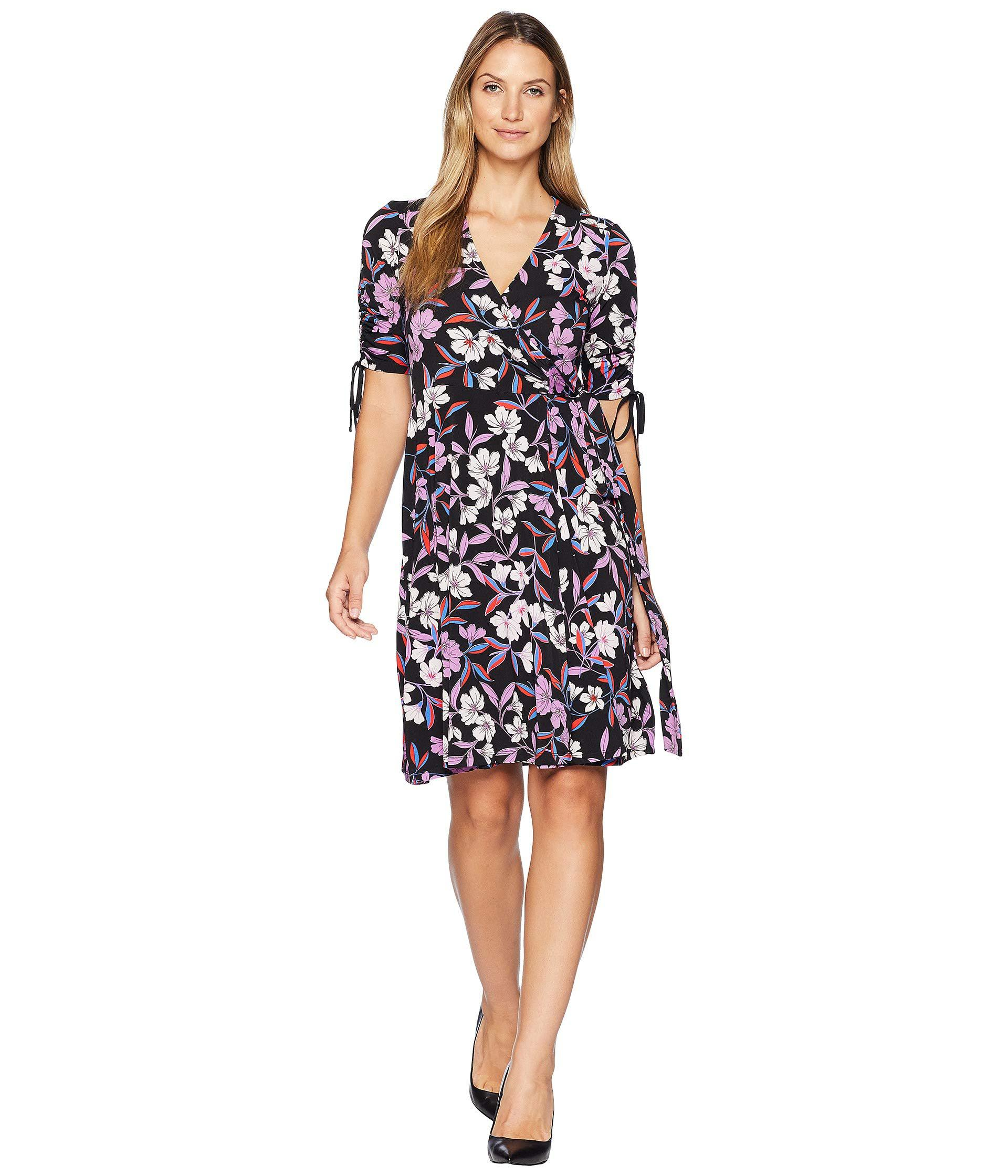 Lyst - Donna Morgan Short Gathered Sleeve Wrap Dress c9f27f9ab