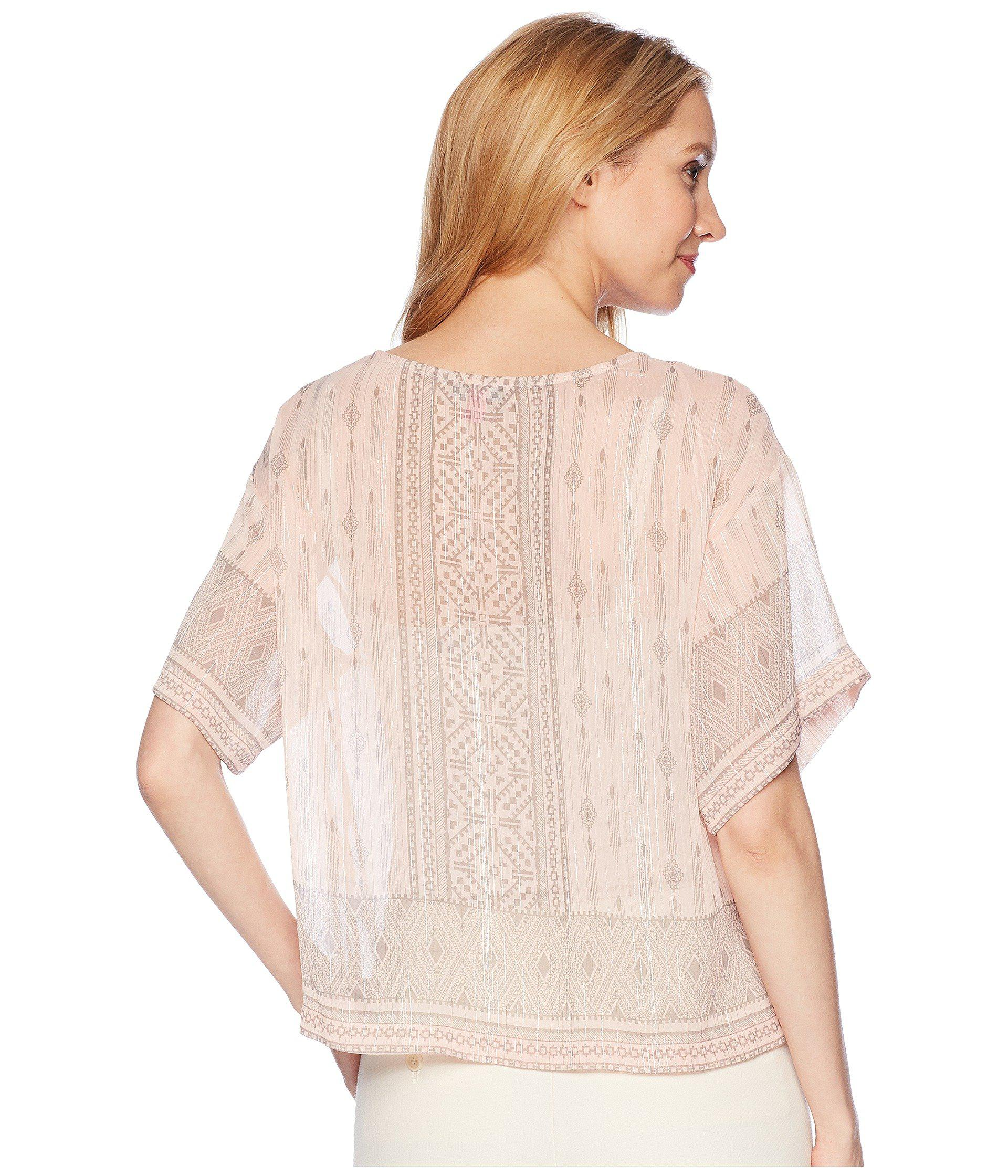 783f8cc7510869 Two By Vince Camuto - Multicolor Drop Shoulder Delicate Diamond Geo Blouse  - Lyst. View fullscreen