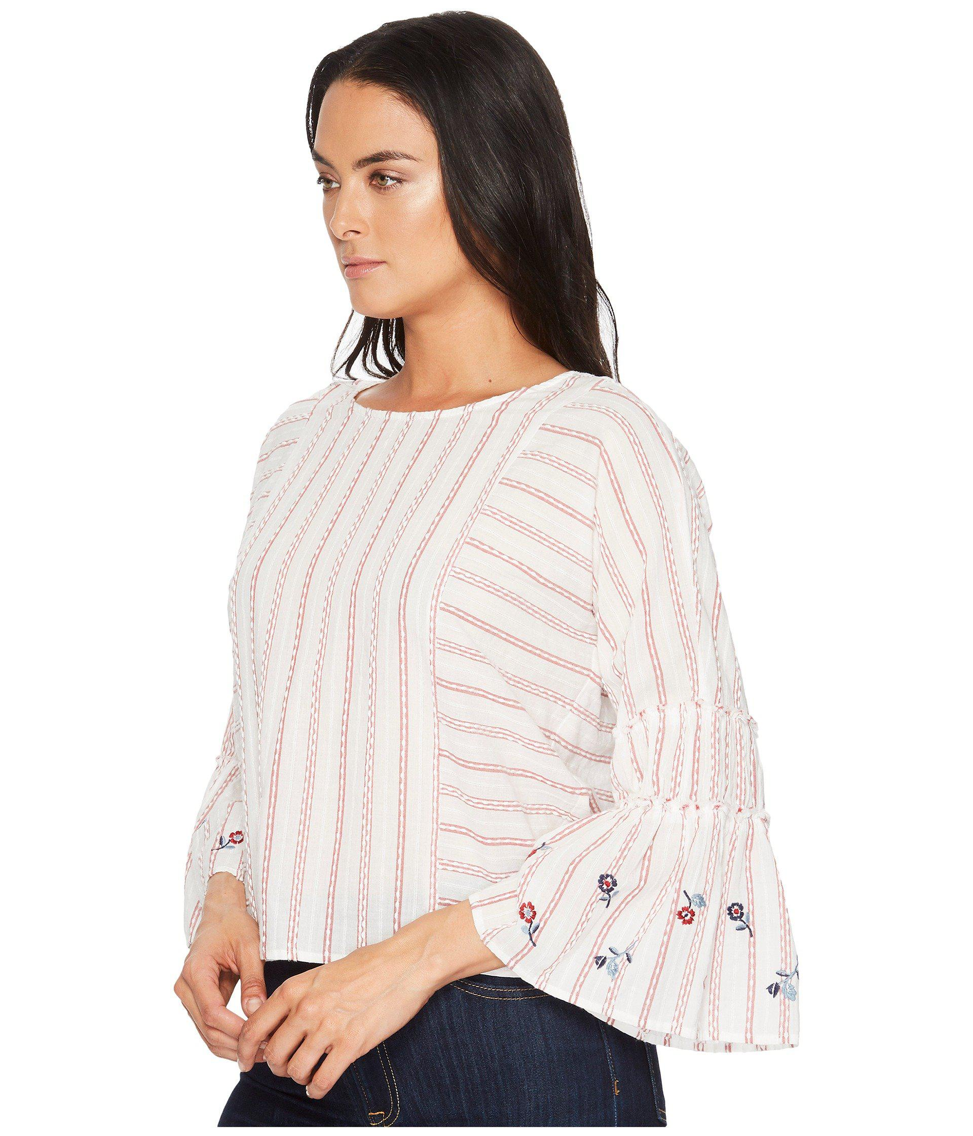 5eacdf33823 Lyst - Two By Vince Camuto Ruffle Bell Sleeve Bubble Stripe Embroidered  Blouse - Save 58%