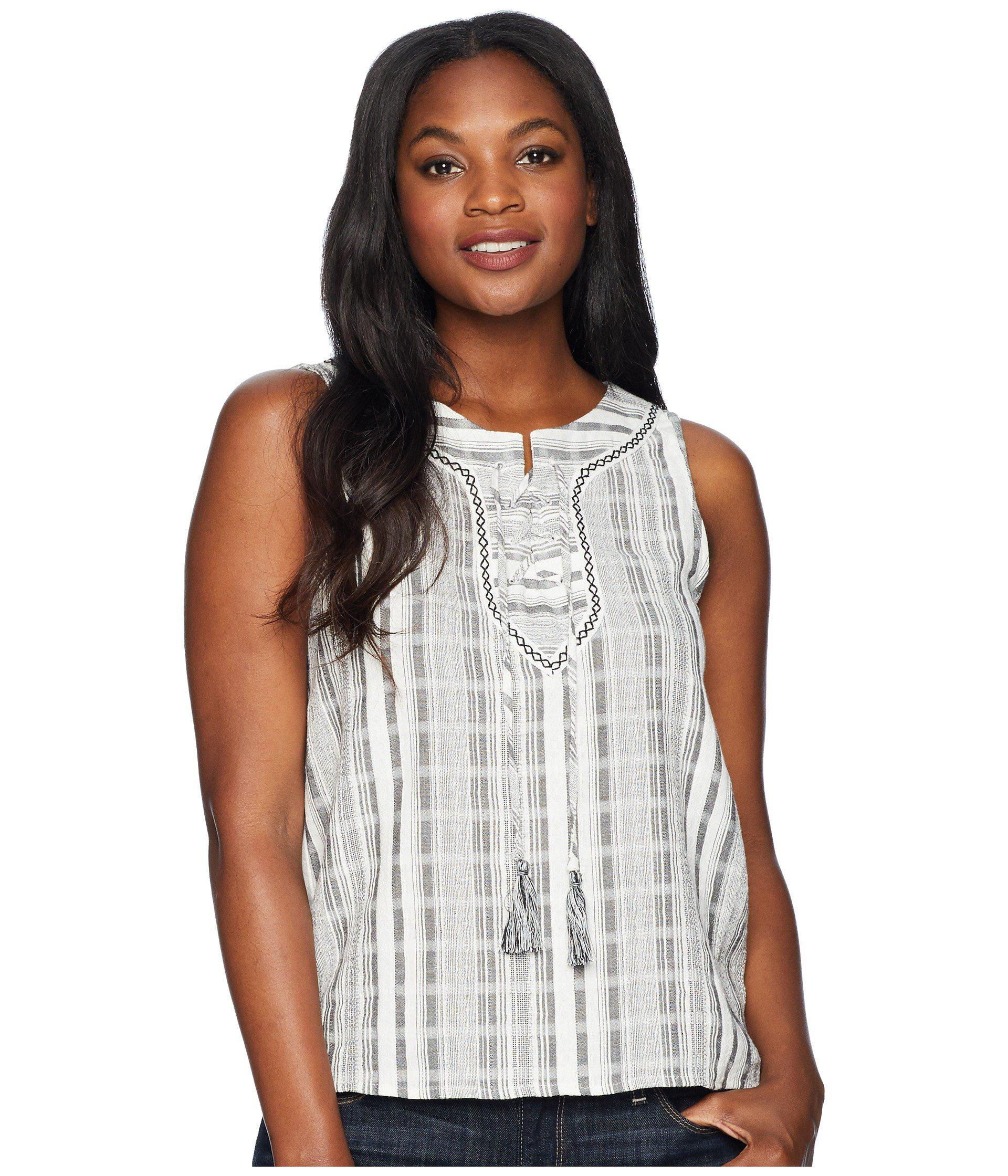 f6e6f3fdf7d Two By Vince Camuto. Women s White Sleeveless Lace-up Jacquard Stripe Blouse