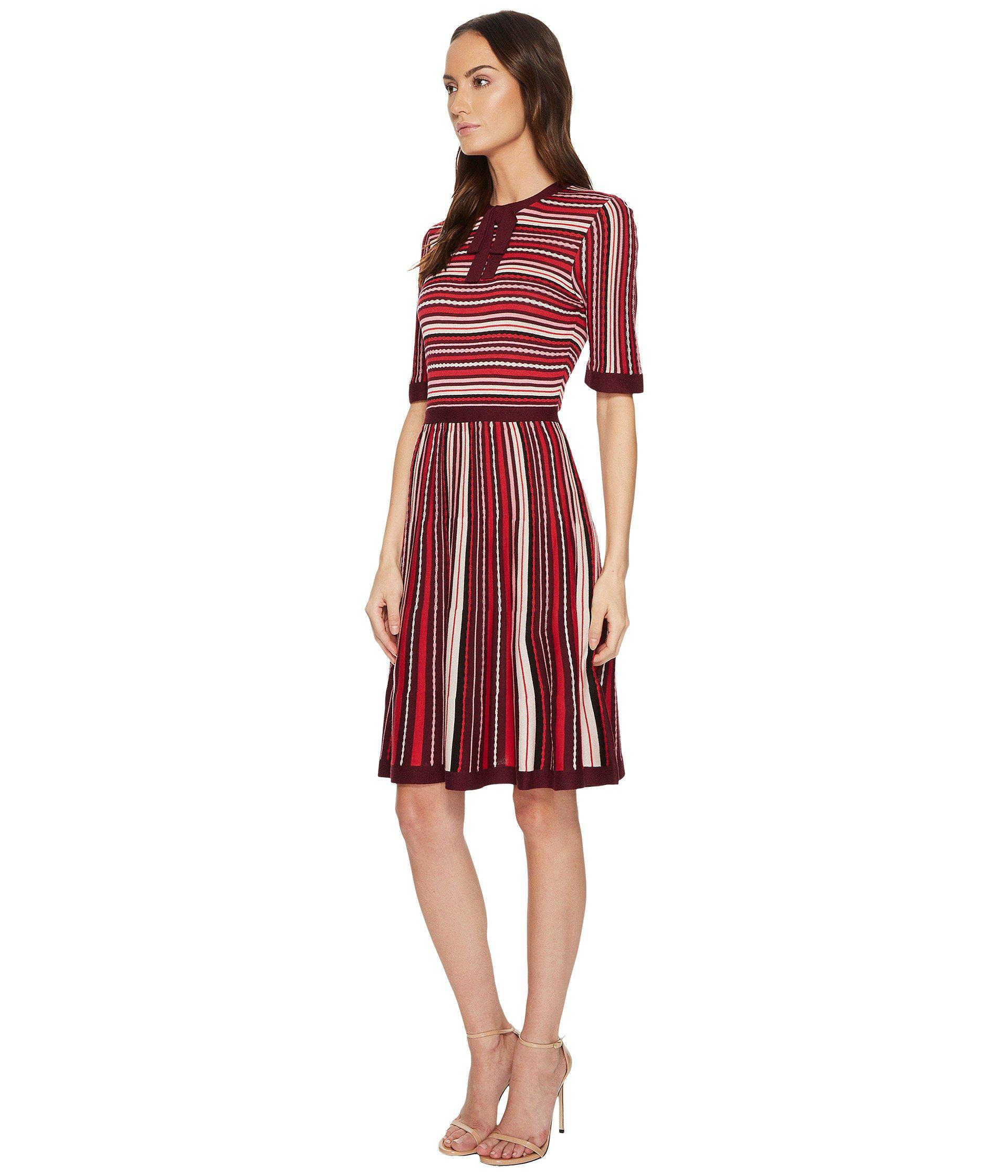 37a36bd57762 Lyst - Kate Spade Multi Stripe Sweater Dress in Red