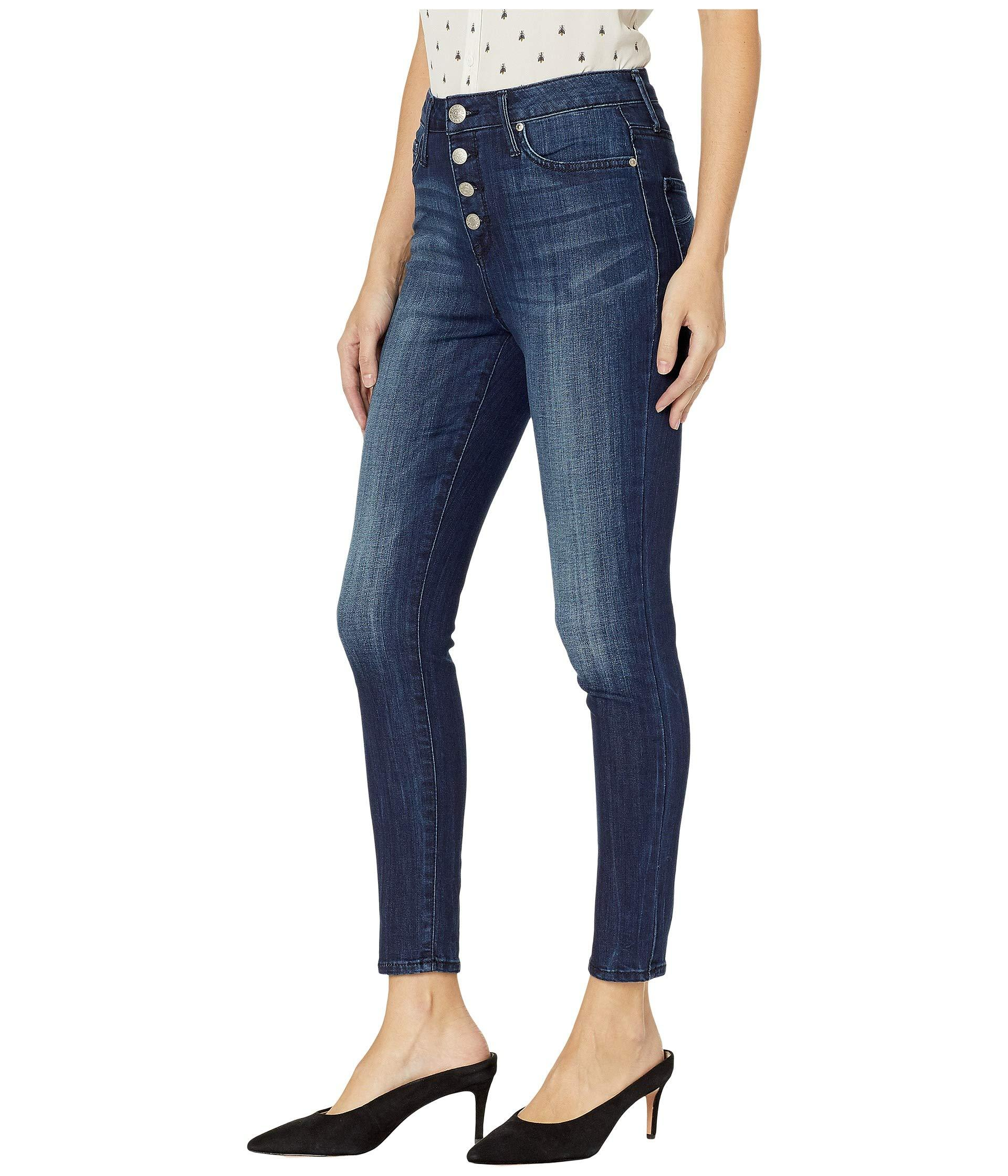 efd54026be9ca Lyst - Seven7 Ultra High-rise Ankle Skinny Exposed Button Front In Avalon  in Blue