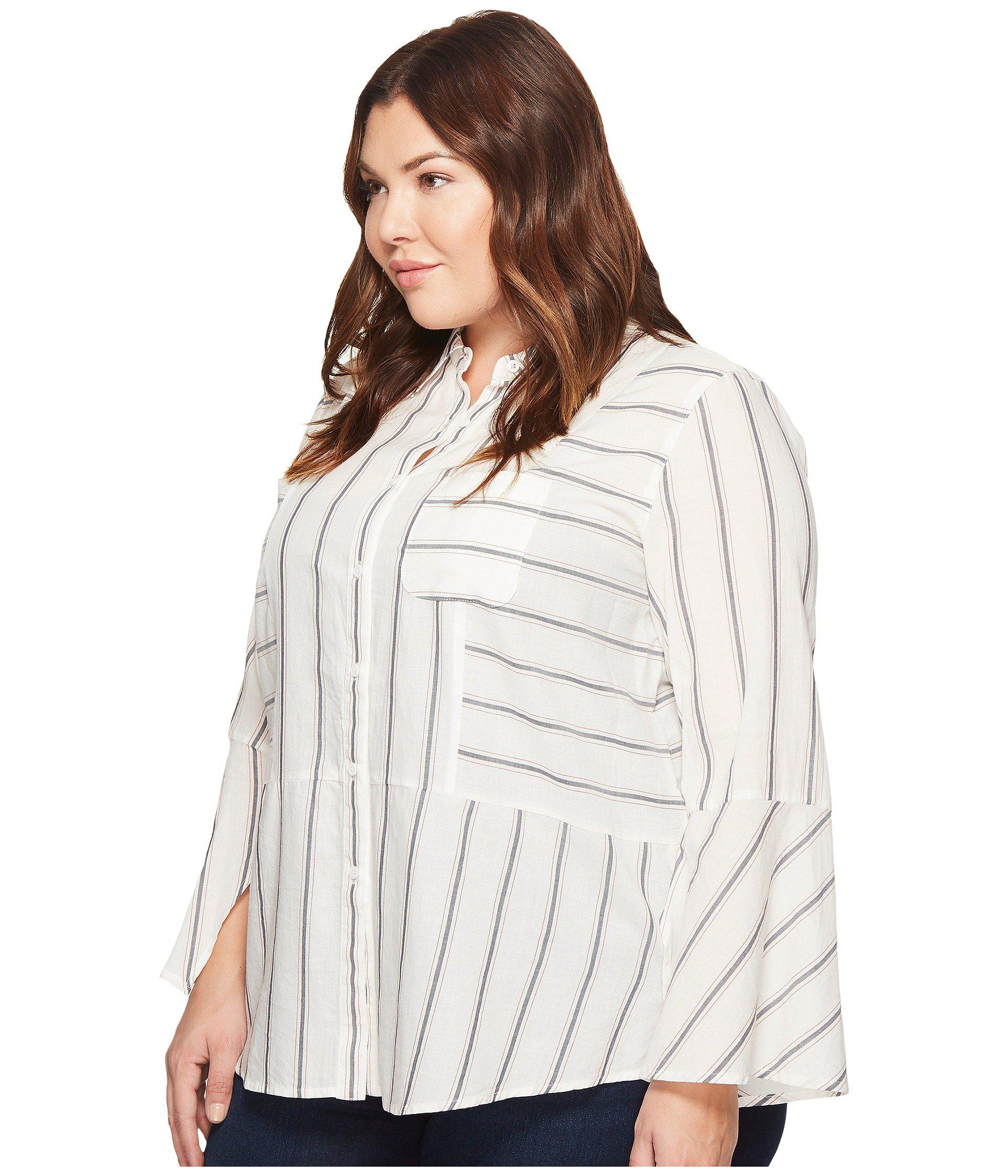 bd23bc06f37 Lyst - Two By Vince Camuto Plus Size Bell Sleeve Yarn-dye Stripe Collared  Shirt in White - Save 57.971014492753625%