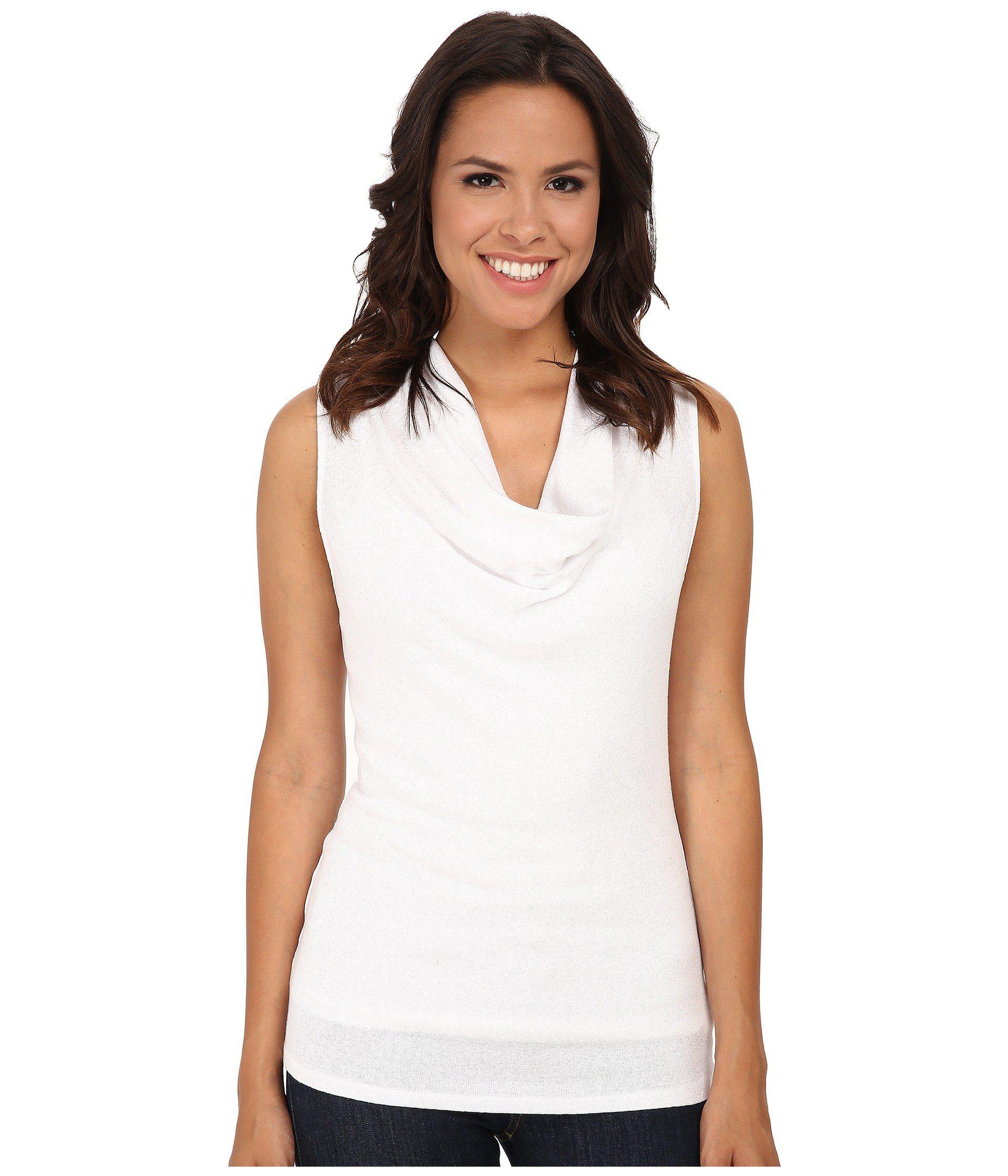 59a29706d7c Lyst - Michael Stars Shine Sleeveless Drape Neck in White - Save 29%