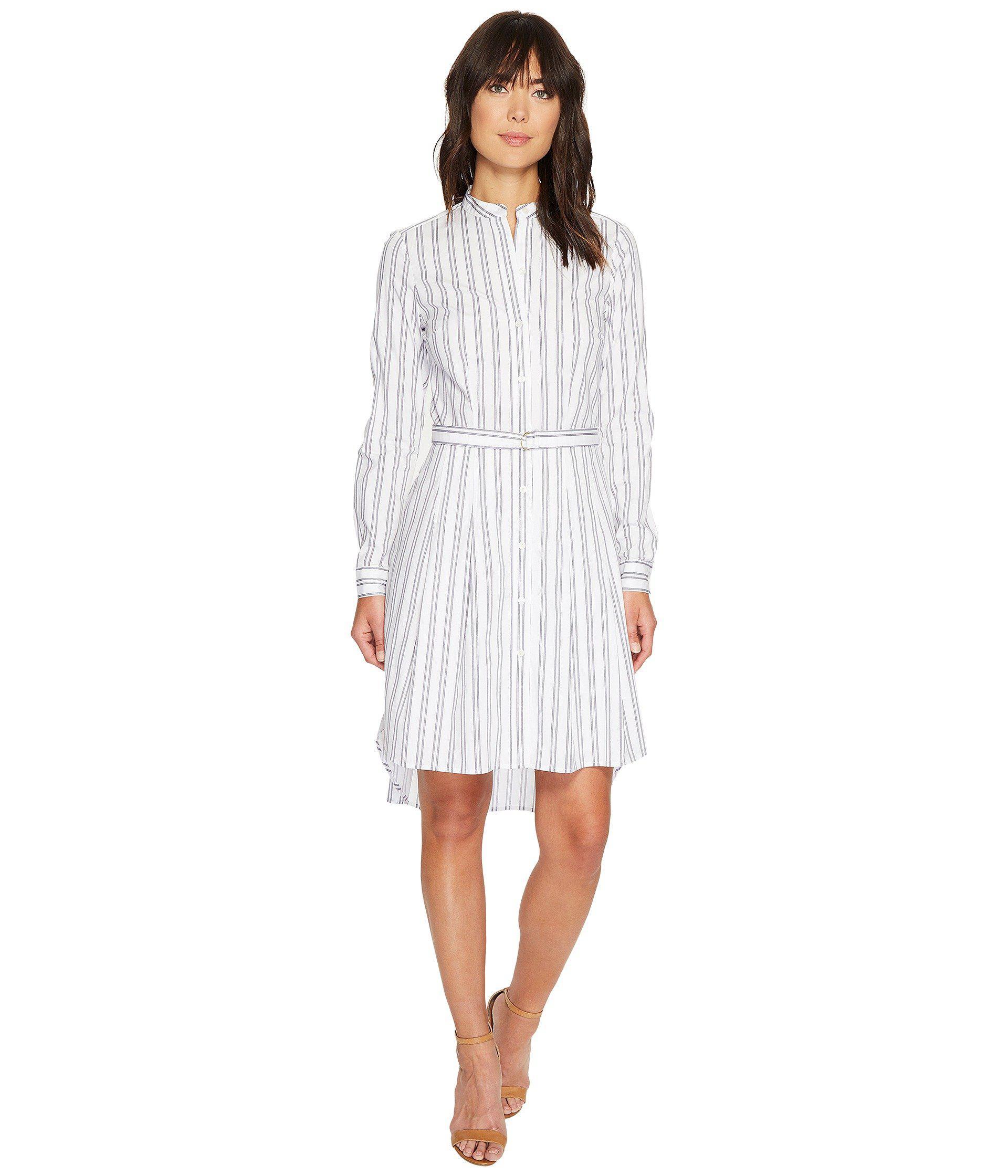 45712e6c13b Lyst - MICHAEL Michael Kors Bengal Stripe High-low Dress in White
