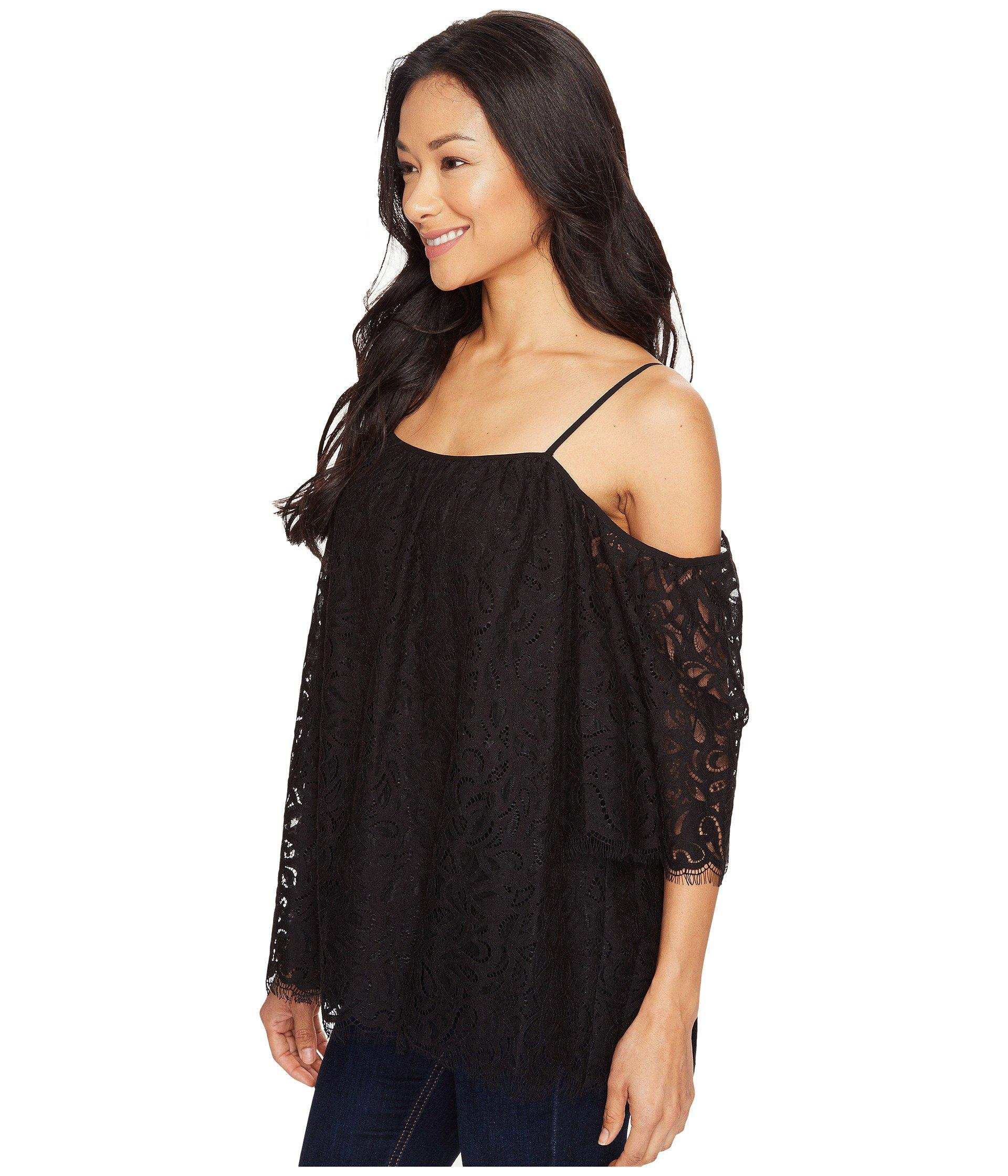43611d061b6c8 Lyst - Vince Camuto Elbow Sleeve Cold-shoulder Geo Lace Blouse in Black -  Save 44%