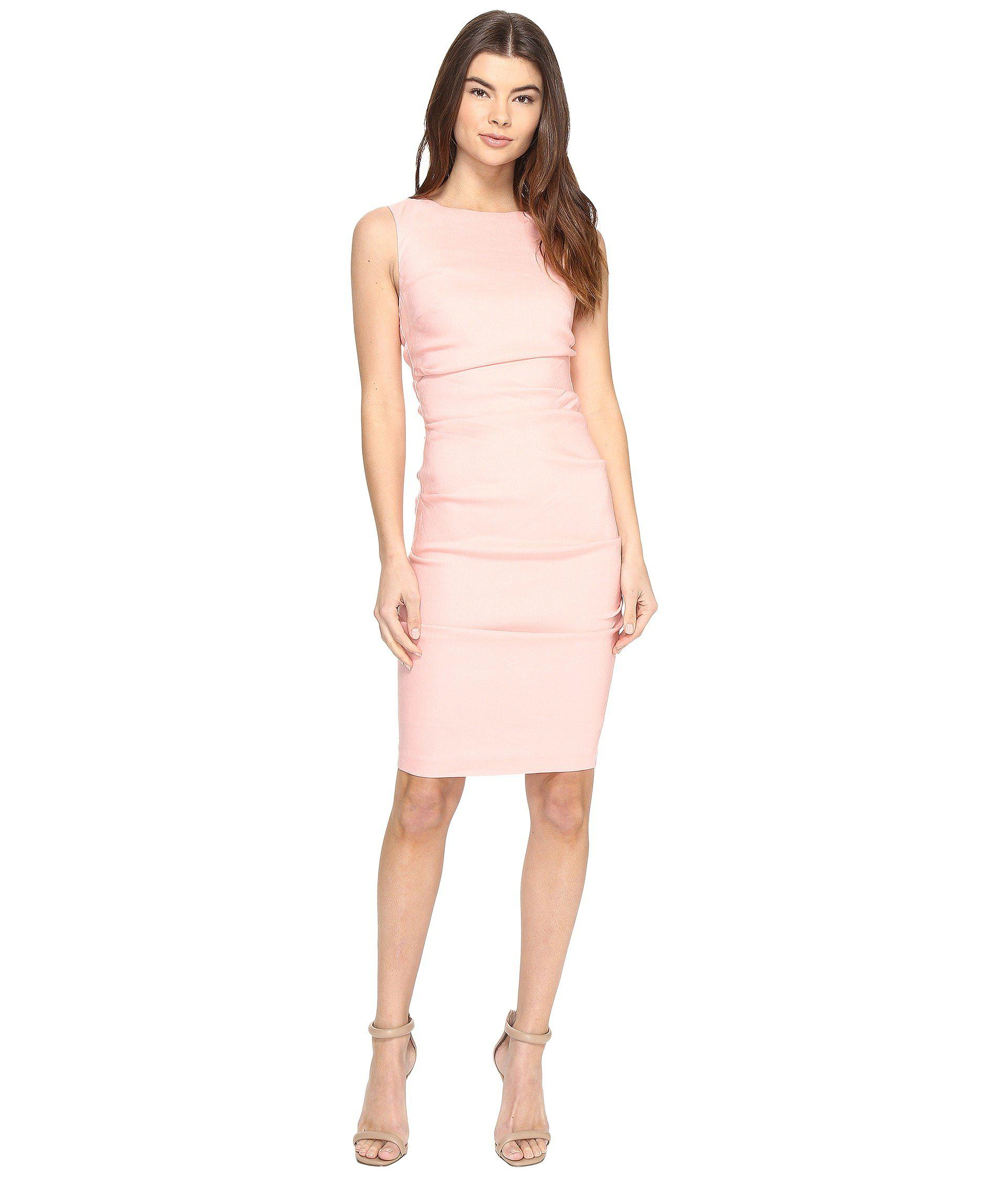 61fe43e749 Lyst - Nicole Miller Lauren Stretch Linen Dress in Pink