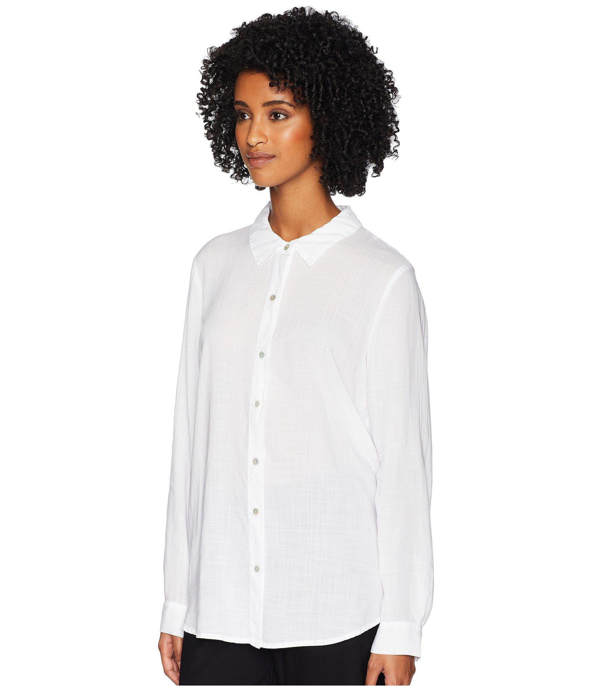 5aec163a3b1ba Lyst - Eileen Fisher Drapey Crosshatch Classic Collar Shirt in White - Save  50%