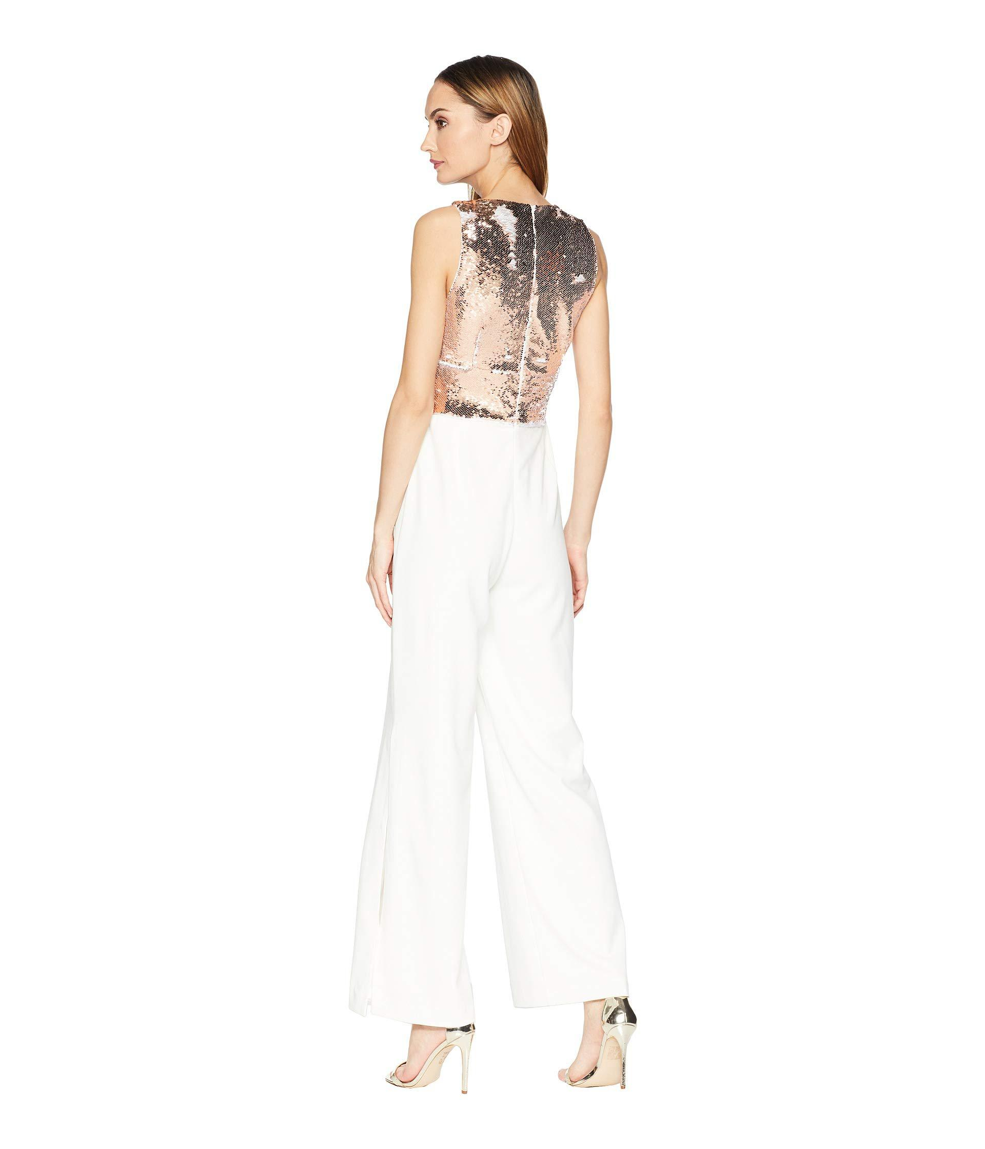 4d84086d62 Lyst - Alexia Admor Mixed Sequin Split-hem Jumpsuit in White - Save 16%