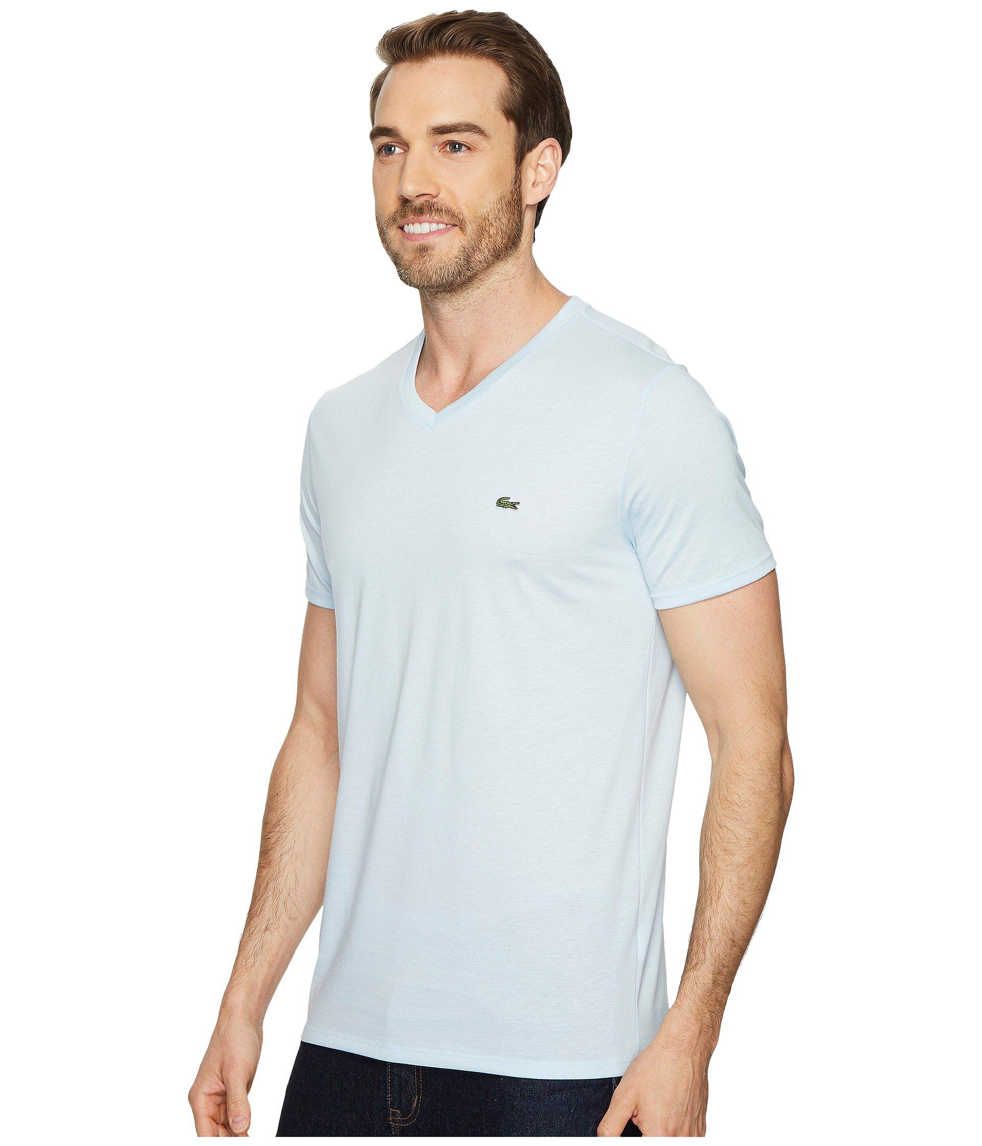 409f96e4bca3 Lyst - Lacoste Short Sleeve V-neck Pima Jersey Tee in Blue for Men - Save 3%