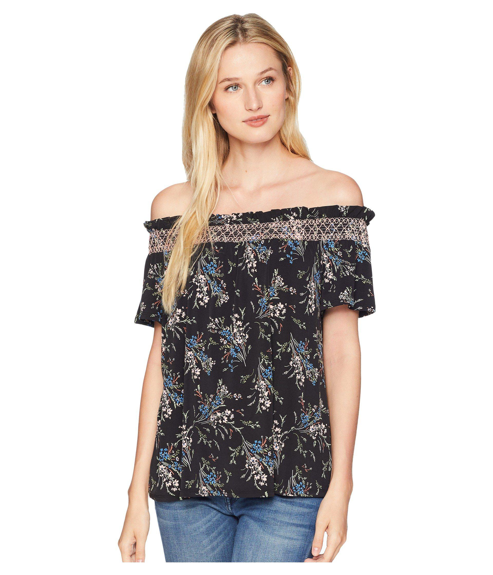 bf28adcfa6c483 Lyst - Cece Off The Shoulder Dancing Bouquets Top in Black - Save 64%