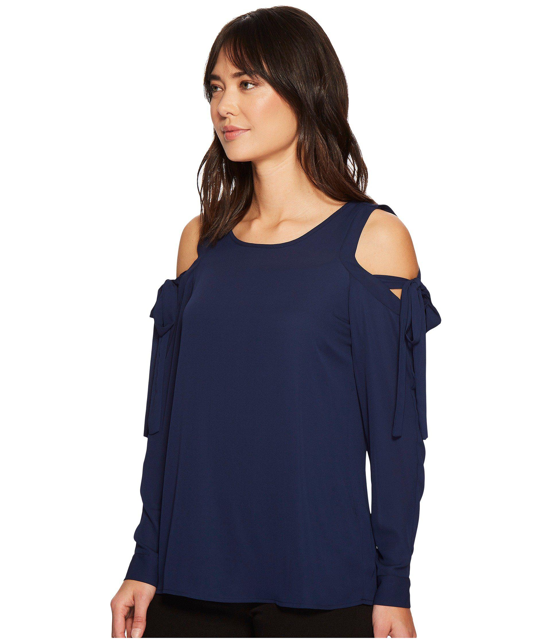 e6a1e6a7dada4 Lyst - Ivanka Trump Woven Cold Shoulder Tie Sleeve Blouse in Blue - Save 14%