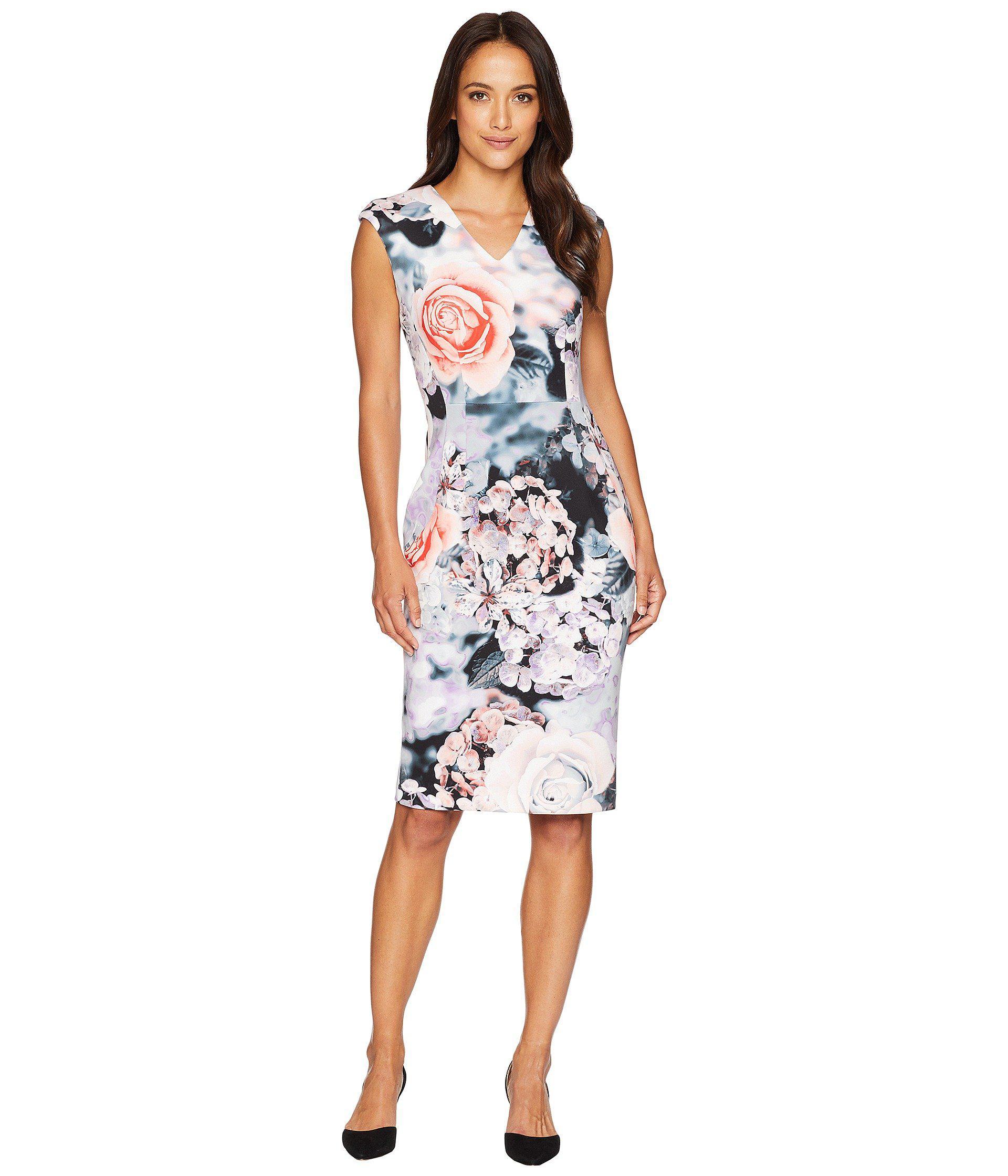 9848610801ac7 Calvin Klein V-neck Flower Print Sheath Dress Cd8m98av - Lyst