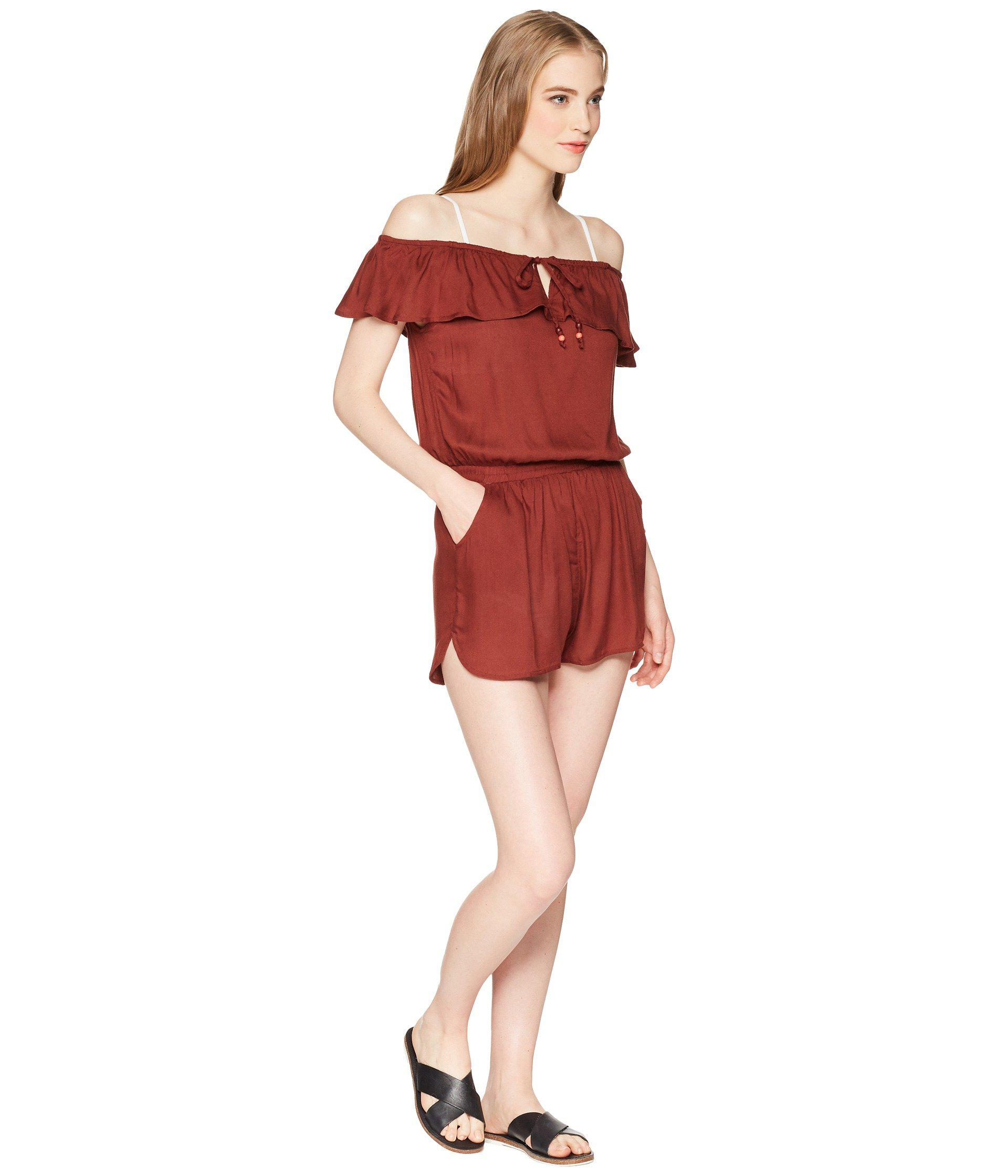 c64057ab3508 Lyst - Roxy Western Holiday Romper Cover-up in Red