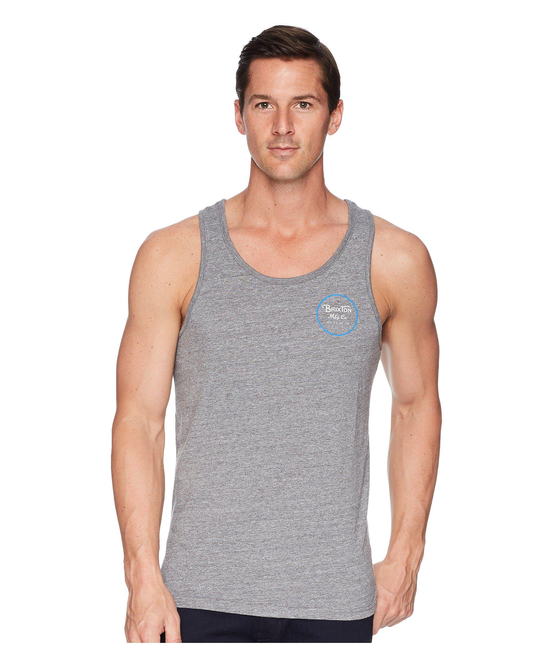 Lyst - Brixton Wheeler Tank Top in Gray for Men - Save 59% 1f5205c3833