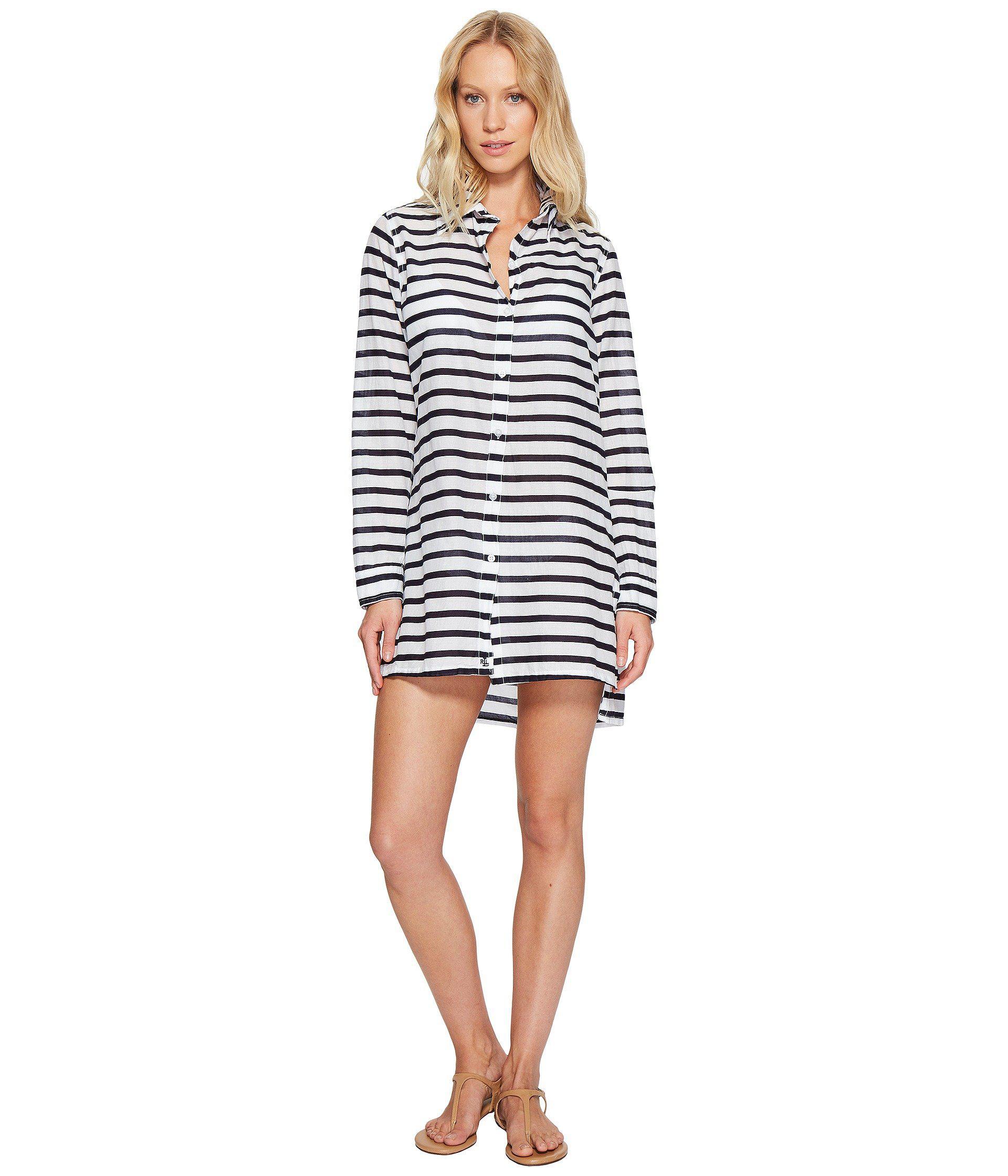 861873073f3 Lyst - Lauren By Ralph Lauren Stripe Crushed Cotton Camp Shirt Cover ...