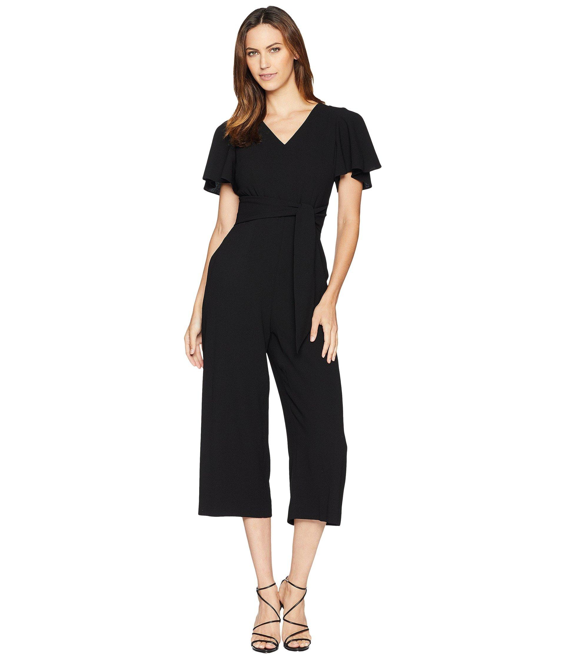 9732b176aa Lyst - Tahari Cropped Jumpsuit With Self-tie Belt in Black