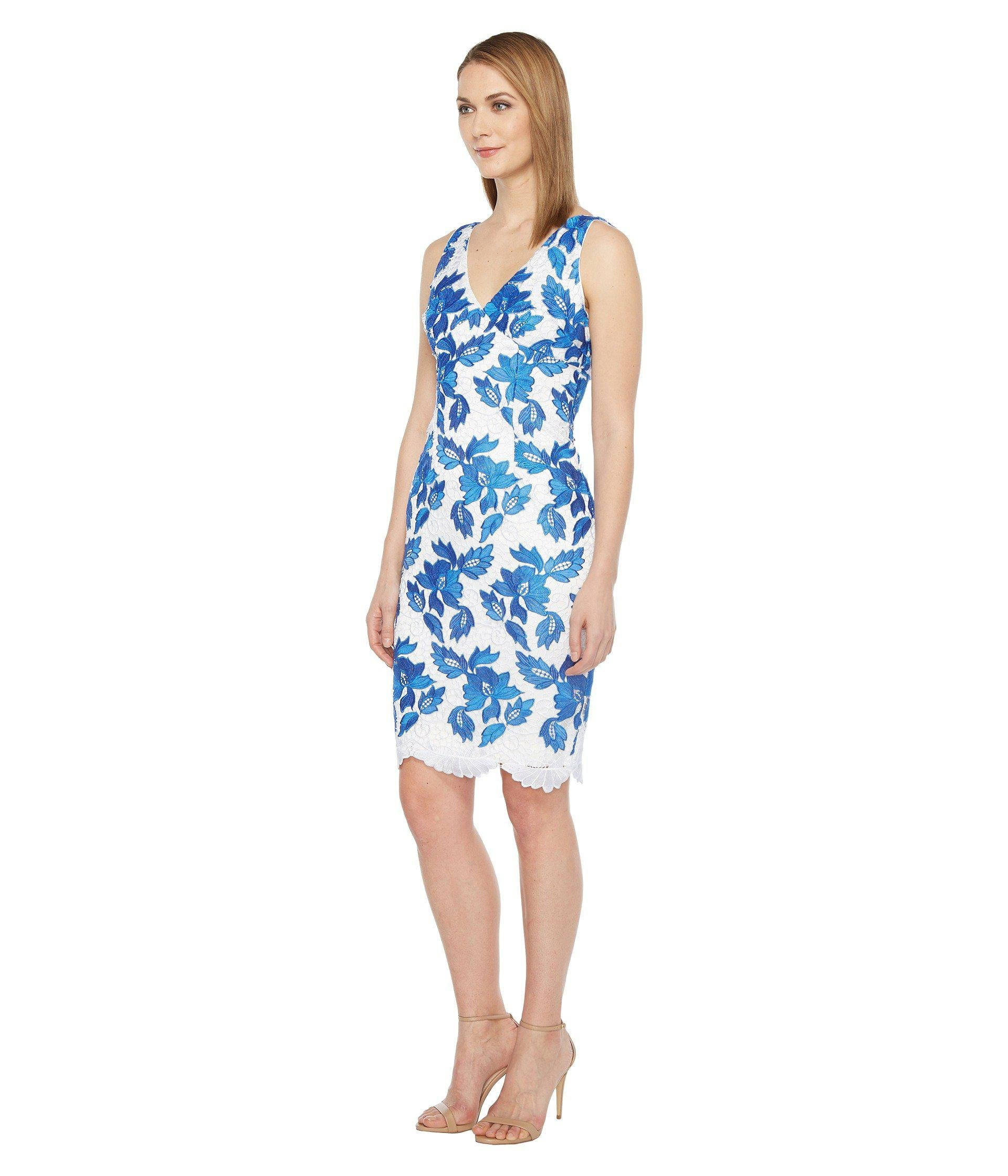 Lyst - Adrianna Papell Sleeveless V-neck Floral Two-tone Lace Dress in Blue  - Save 42% a7fb697a6