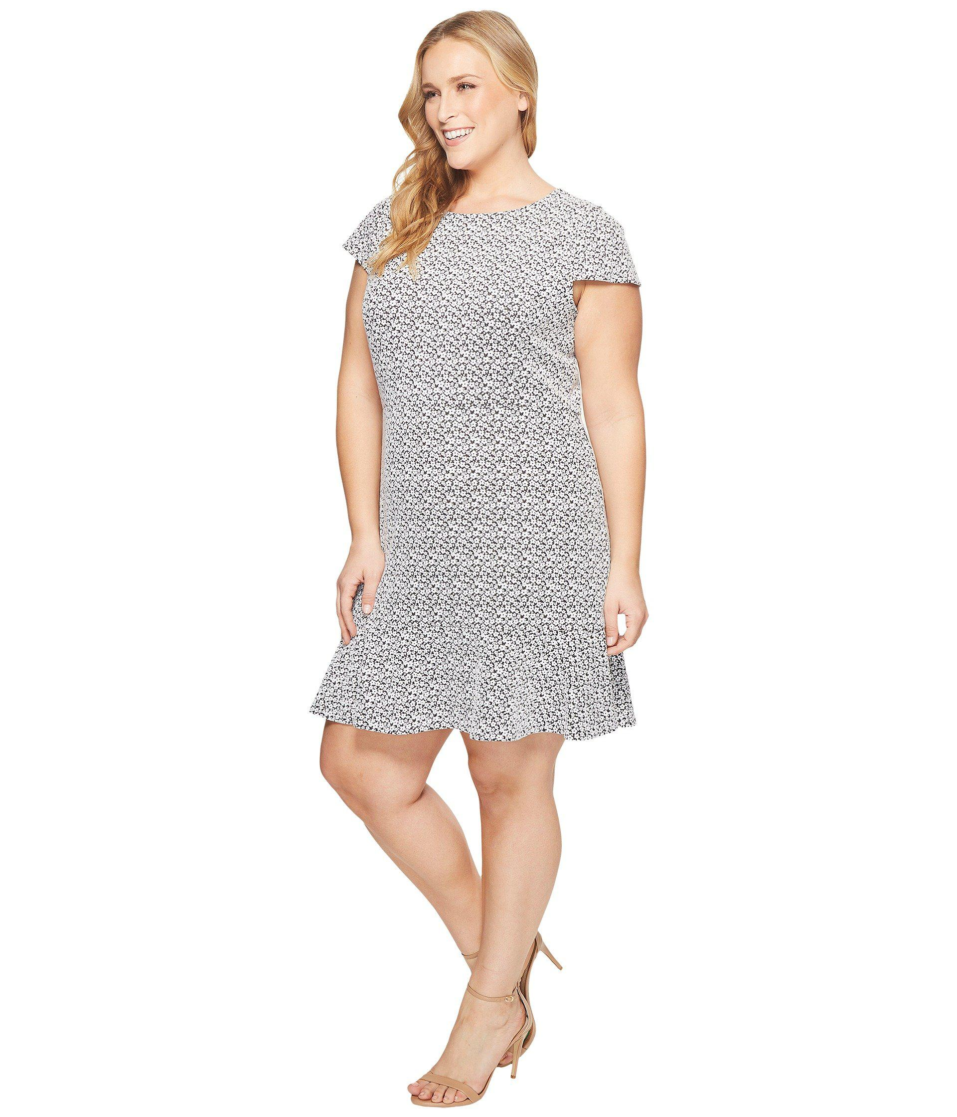 c8059956fbe5c Lyst - MICHAEL Michael Kors Plus Size Jacquard Knit Short Sleeve Flounce  Dress - Save 51%