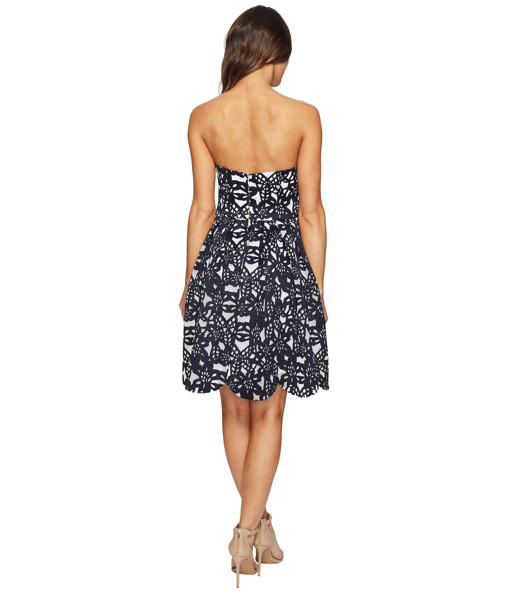 Maggy London Bonded Mesh Flower Fit And Flare Dress In