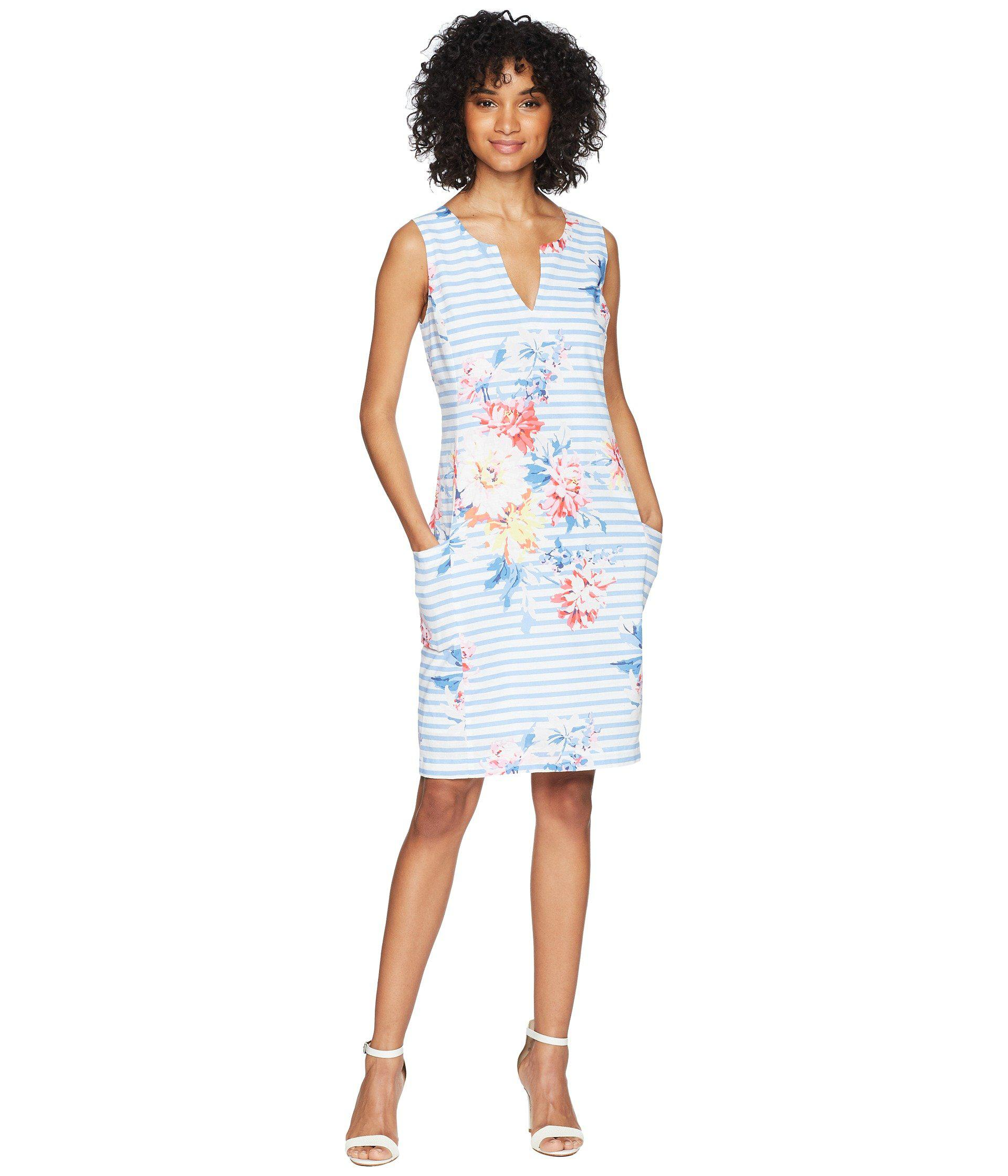 5a10af9e44 Lyst - Joules Elayna Notch Neck Shift Dress in White - Save 51%