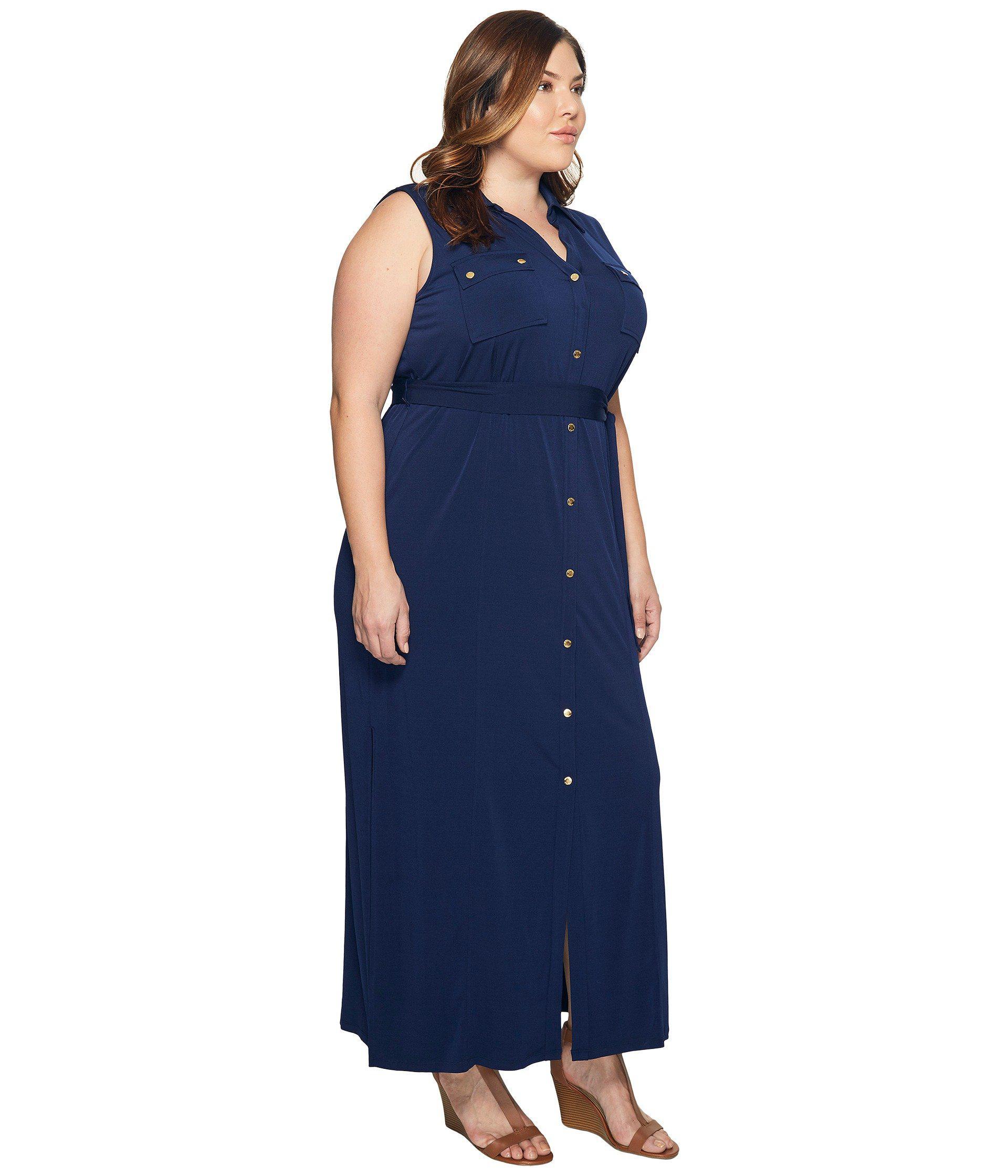 Lyst Michael Michael Kors Plus Size Mj Sleeveless Maxi Shirtdress