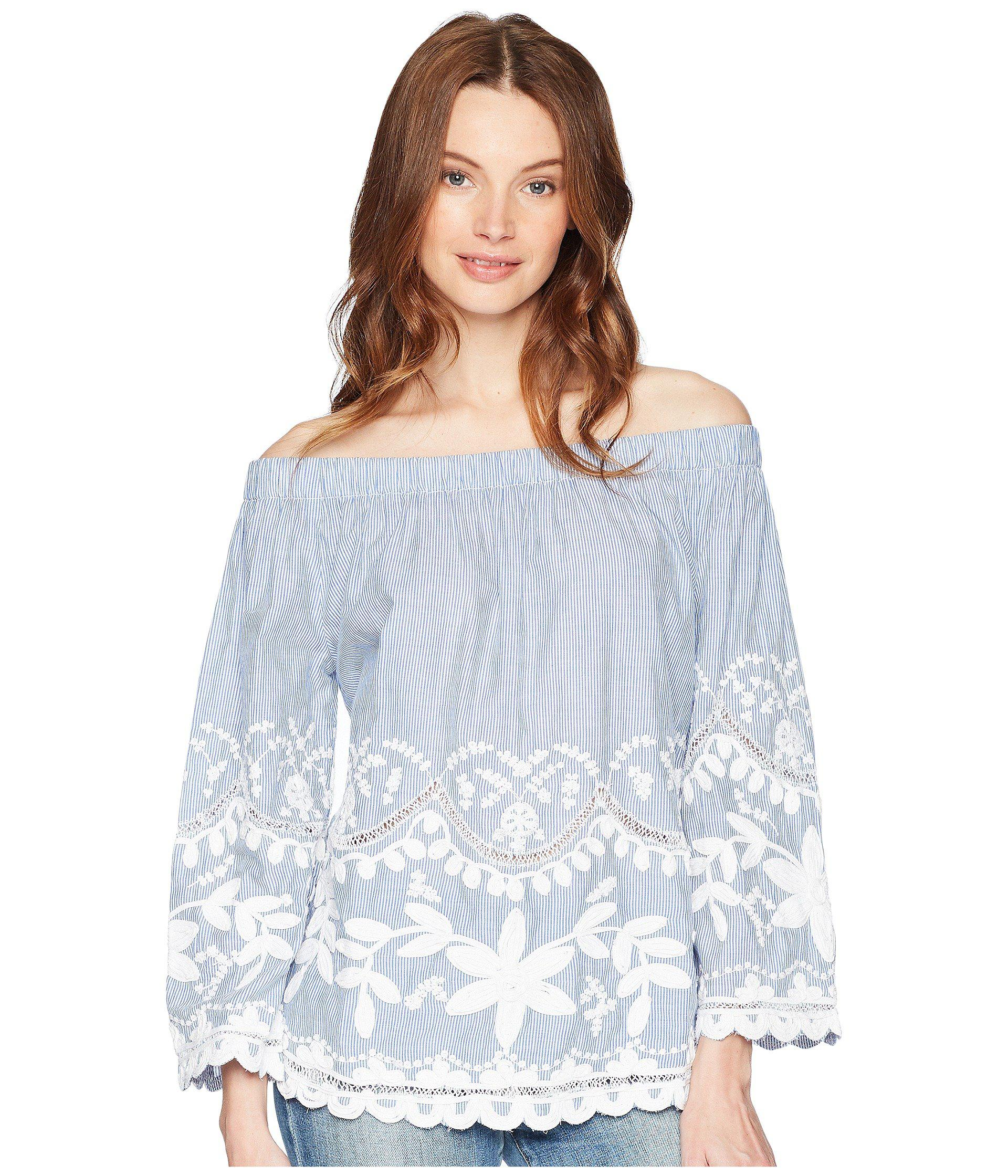 bee5525640f5 Lyst - Blank NYC Striped Cotton Voile Off Shoulder Top With ...