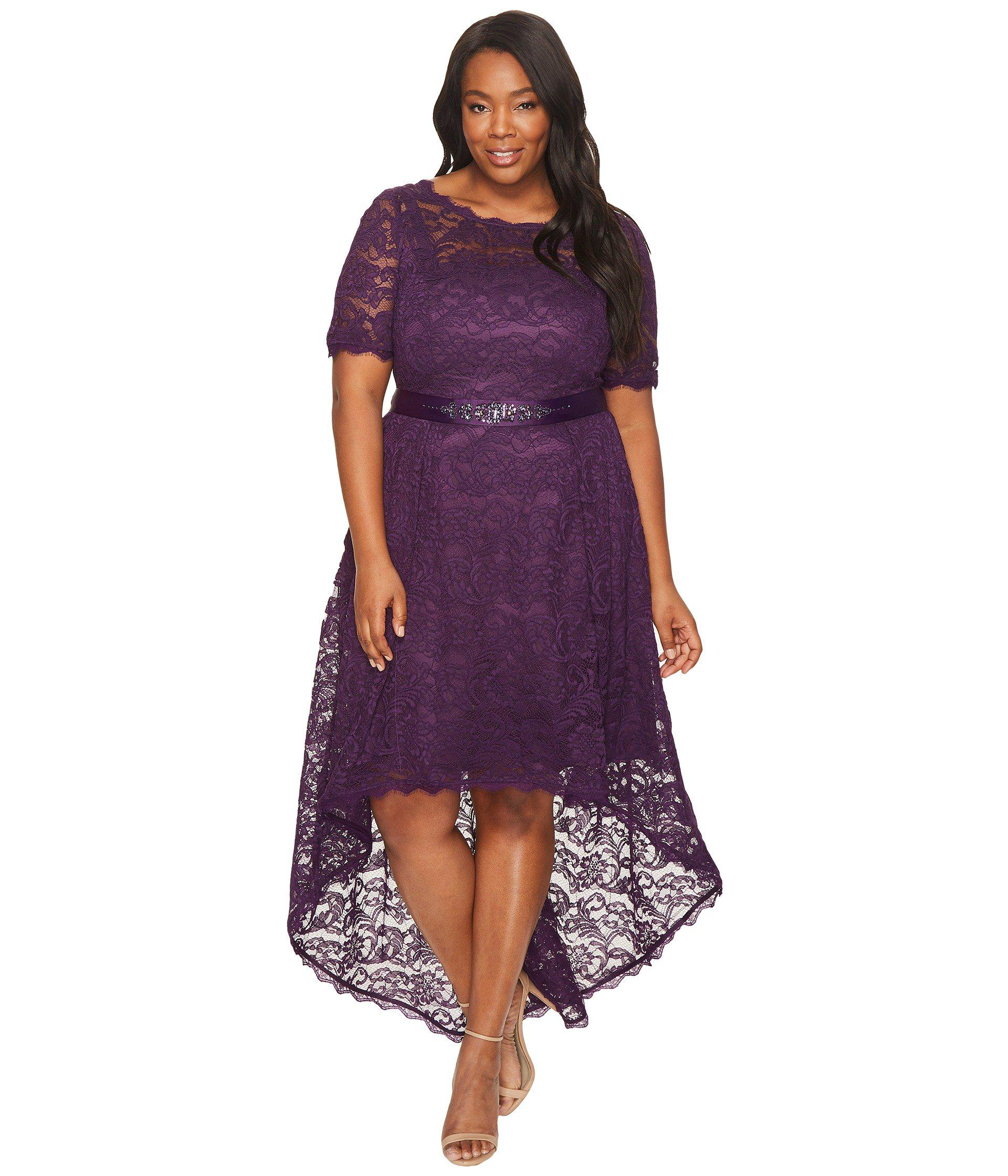 Lyst - Adrianna Papell Plus Size Short Sleeve Lace Dress With High ...