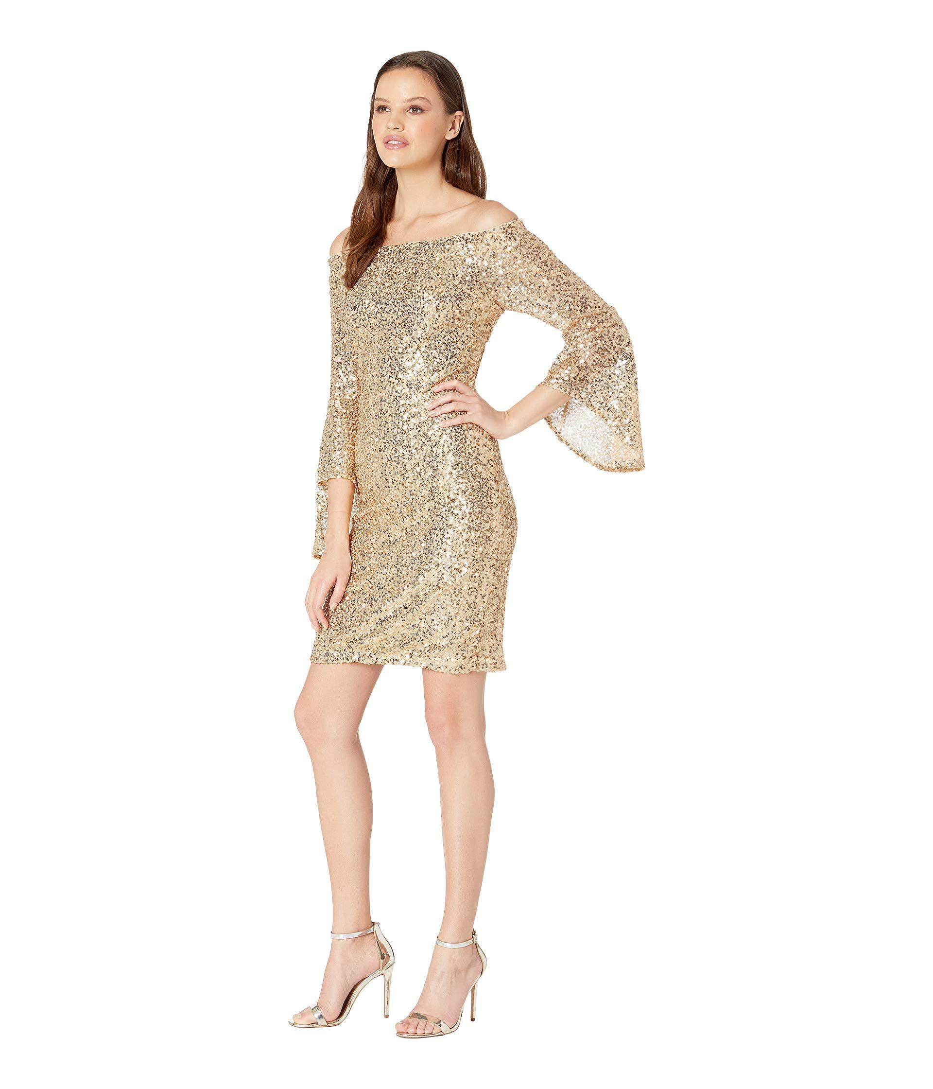 4d2239c8be63de Lyst - Bebe Off Shoulder Sequin Dress W  Bell Sleeves in Metallic - Save 25%