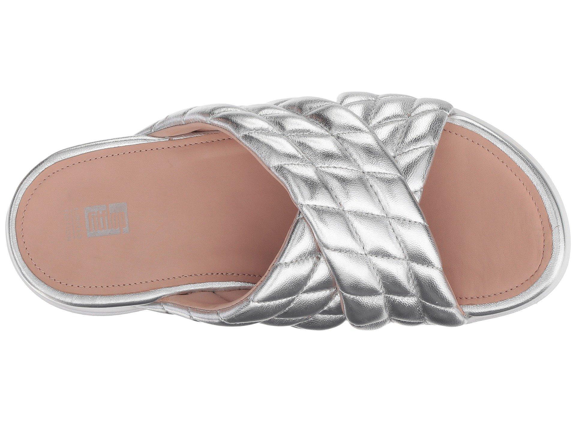 0e90f9fa841d0 Fitflop - Metallic Loosh Luxetm Cross Slide Leather Sandals - Lyst. View  fullscreen