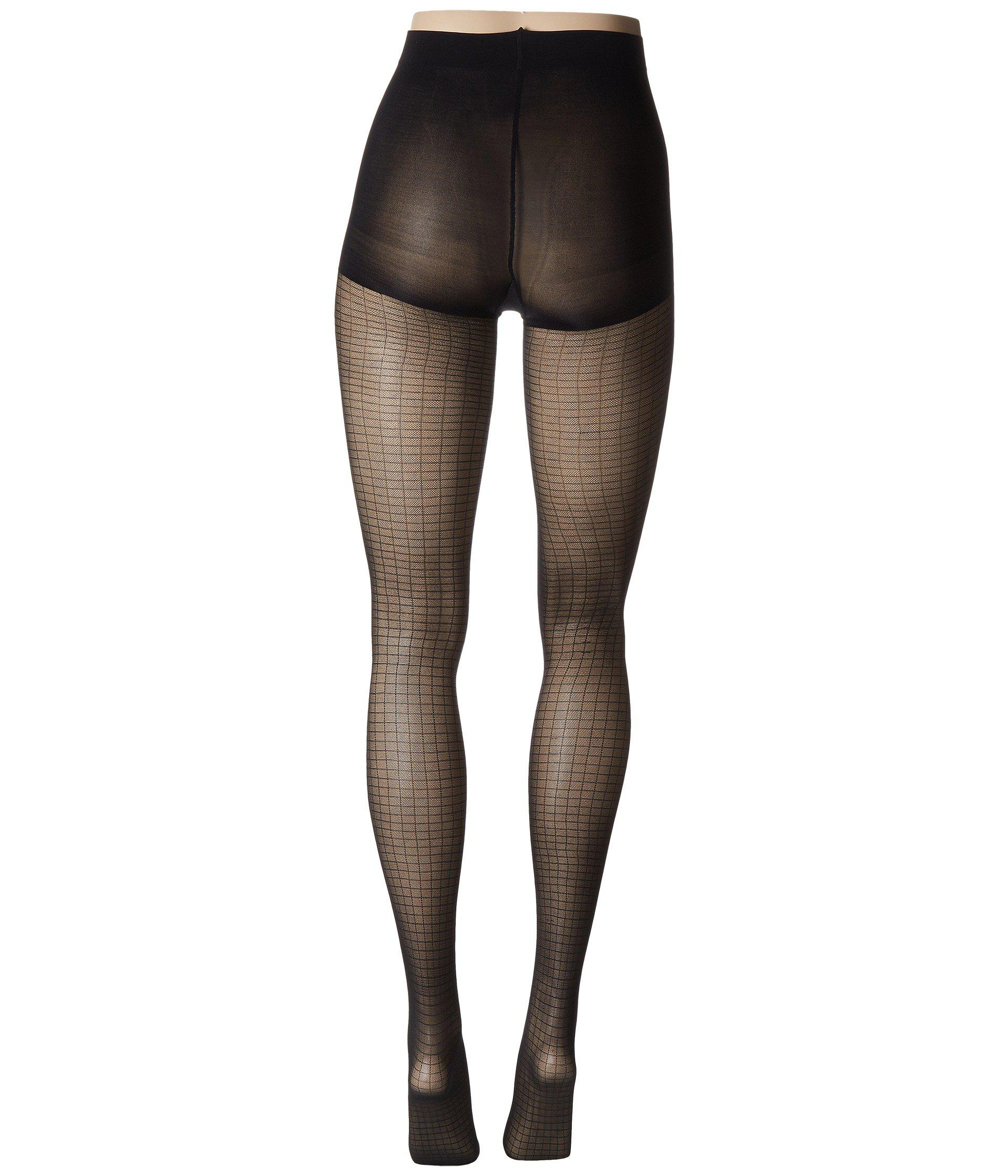 87101b1ccf1cc Lyst - Calvin Klein Shimmer Mesh Grid Tights With Control Top in Black