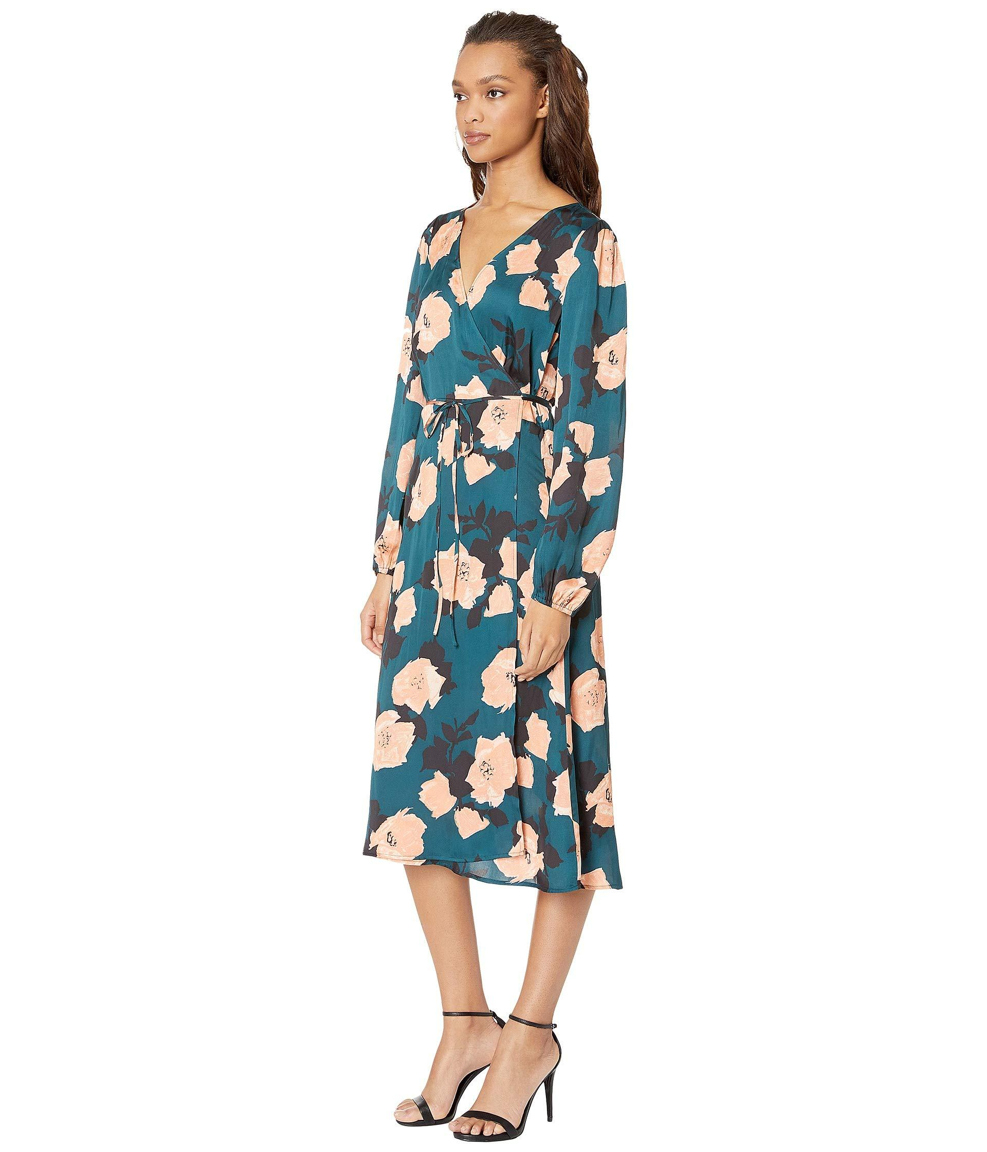 e03f6a9d44f Lyst - PAIGE Fontaine Floral-print Satin Wrap Dress in Blue - Save 67%
