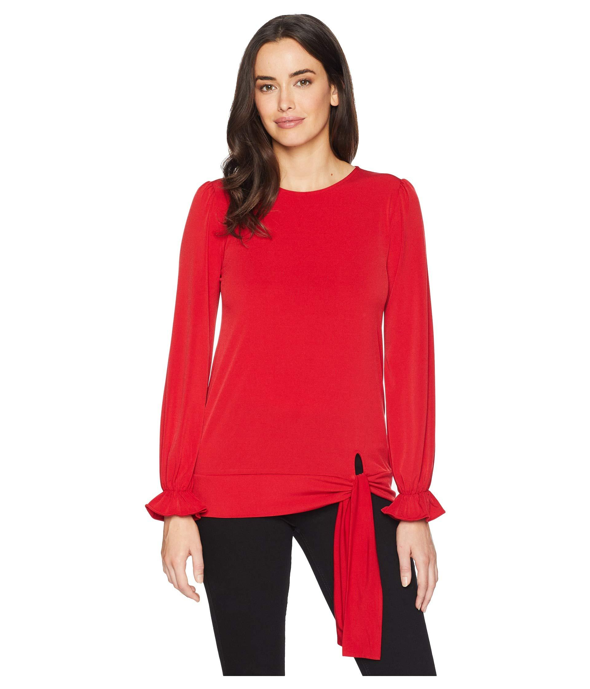 b15141a2aefbb Lyst - MICHAEL Michael Kors Long Sleeve Tie Blouse Top in Red - Save 26%