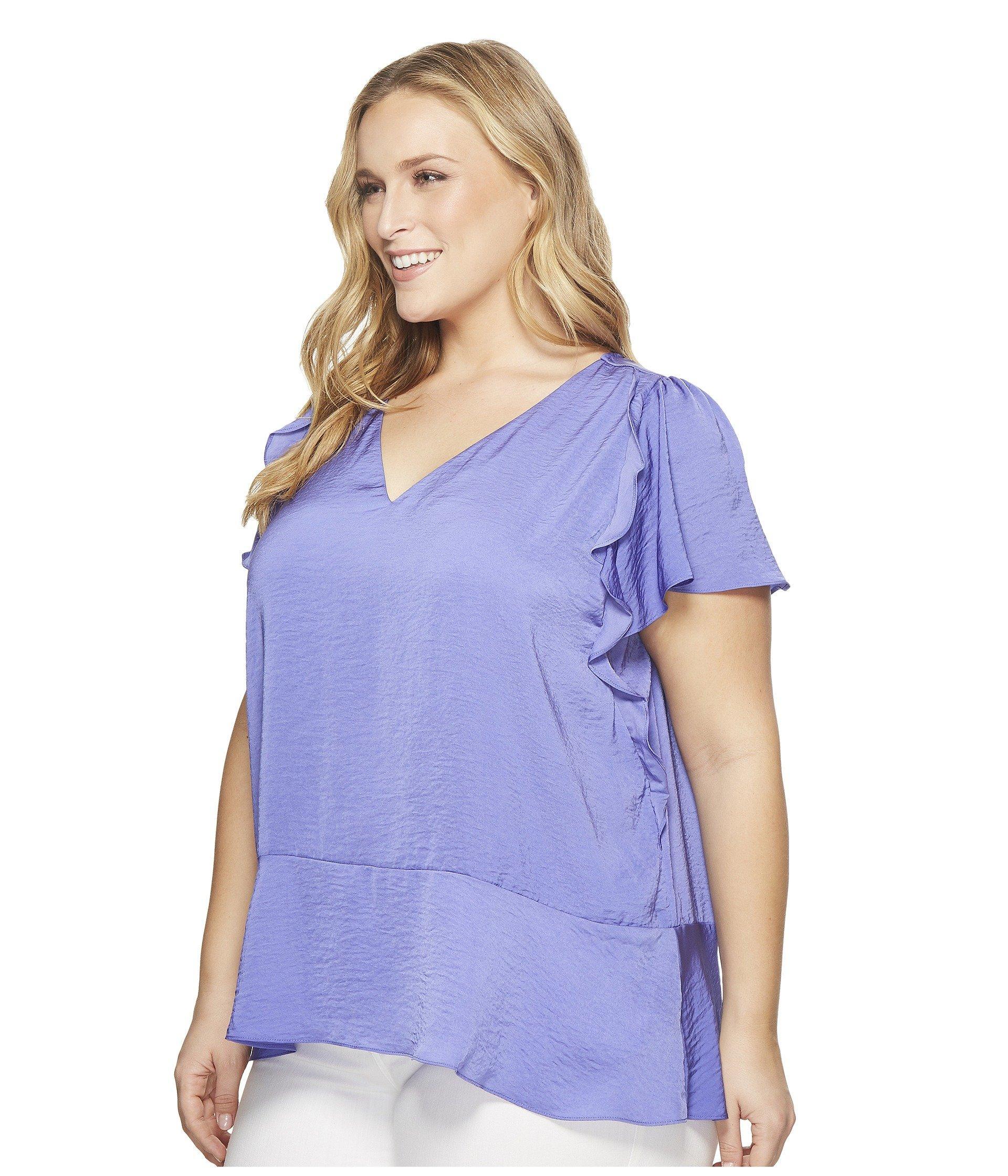 f8a5e2e5929 Lyst - MICHAEL Michael Kors Plus Size Flounce V-neck Short Sleeve Top in  Purple - Save 25%