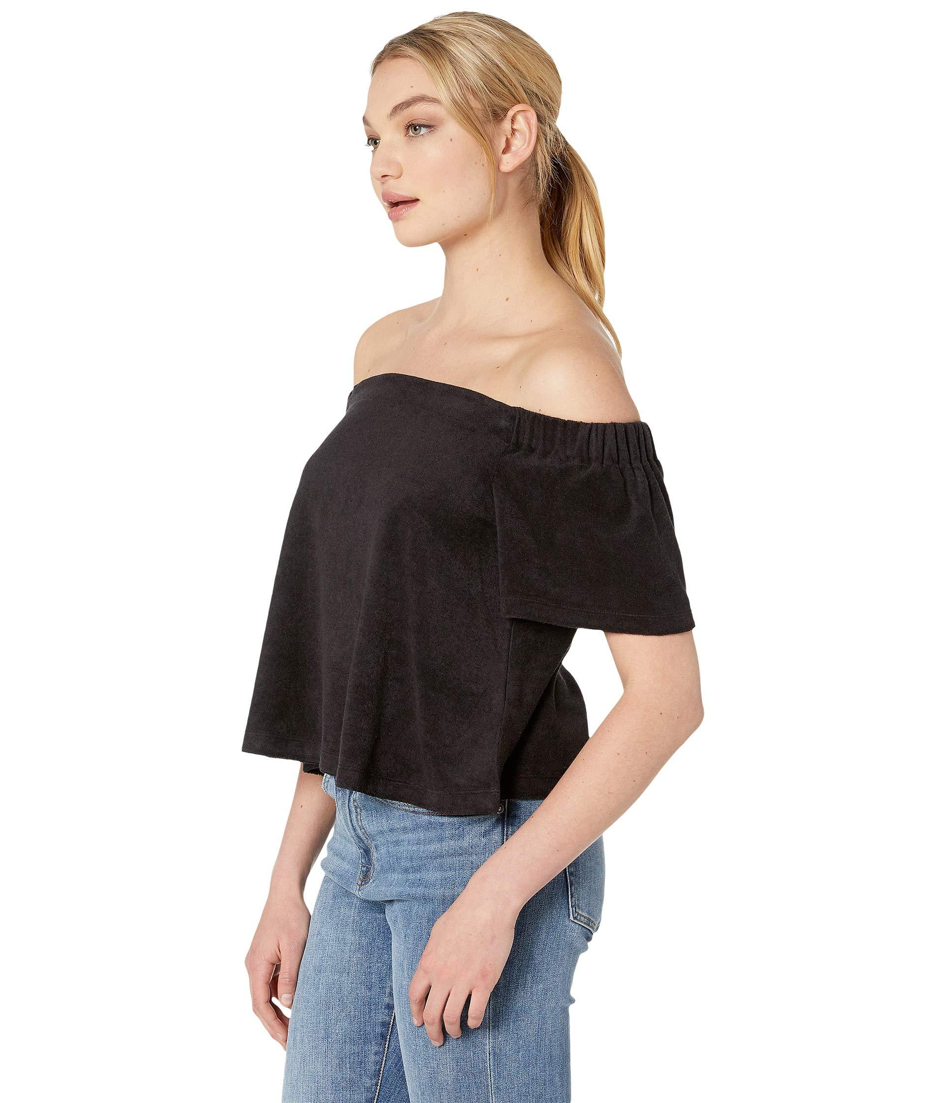 2cb5ba6b5dd55 Lyst - Juicy Couture Track Microterry Off The Shoulder Top in Black