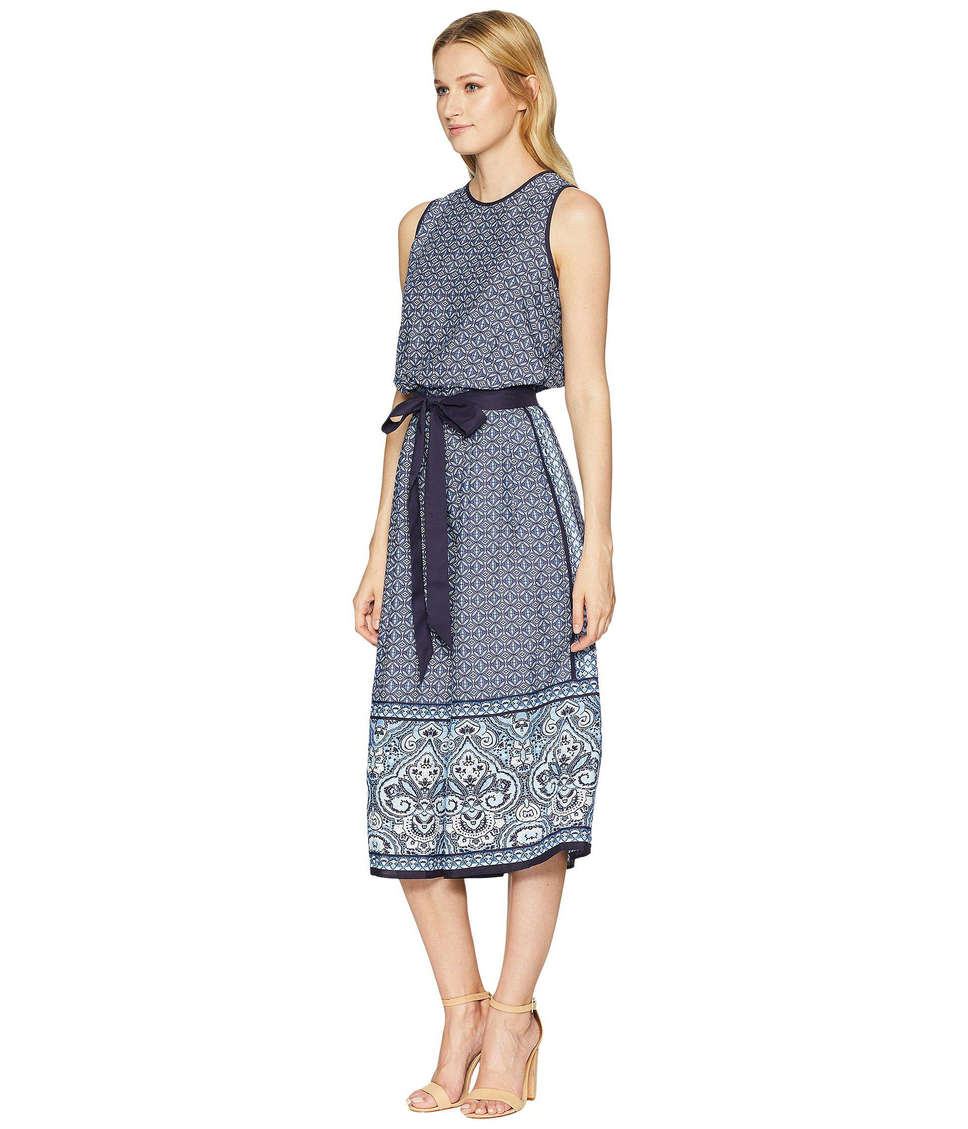 d61e1887c6f Lyst - Vince Camuto Printed Cropped Jumpsuit in Blue