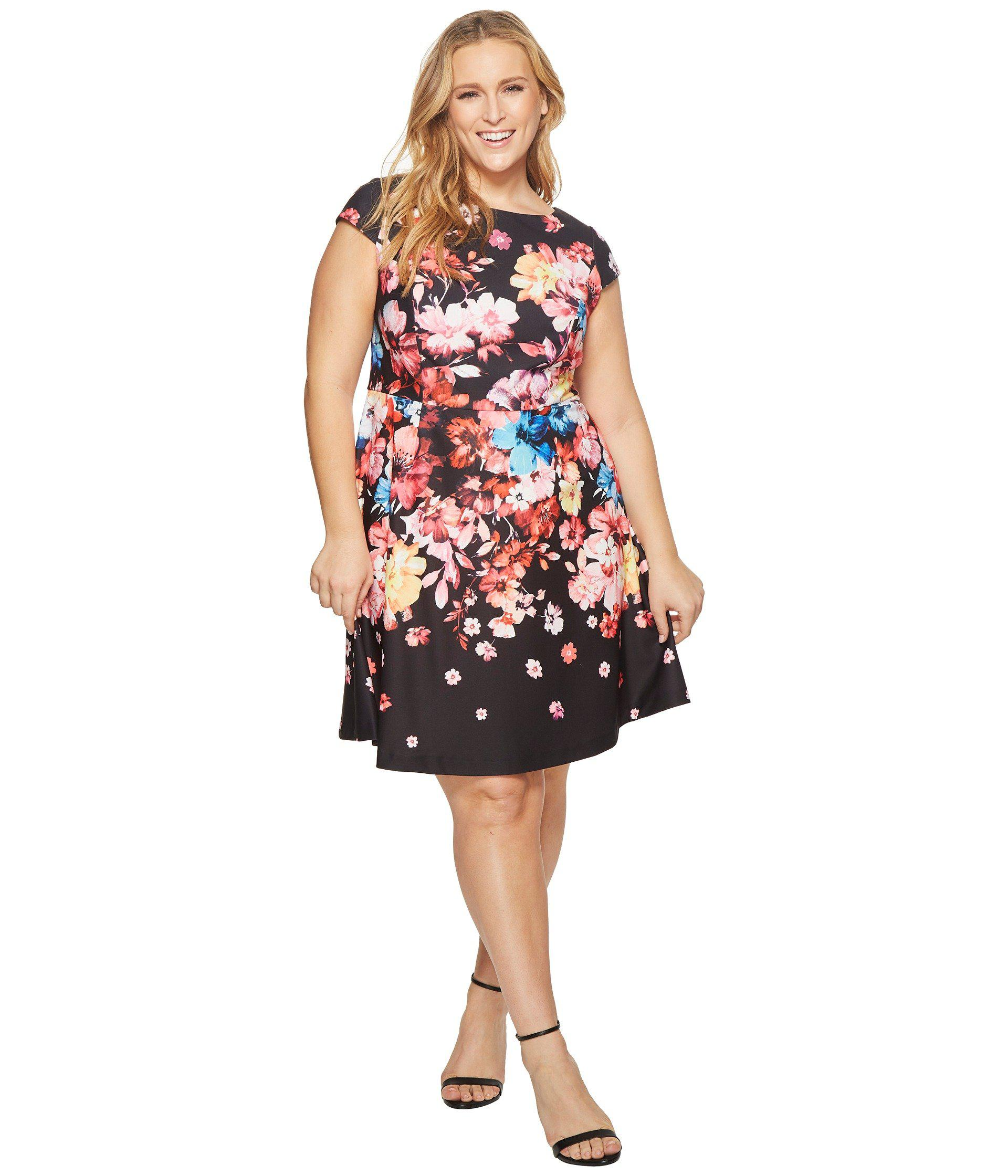 aa5705d93e7cf Adrianna Papell. Women s Black Plus Size Spring In Bloom Printed Fit And  Flare
