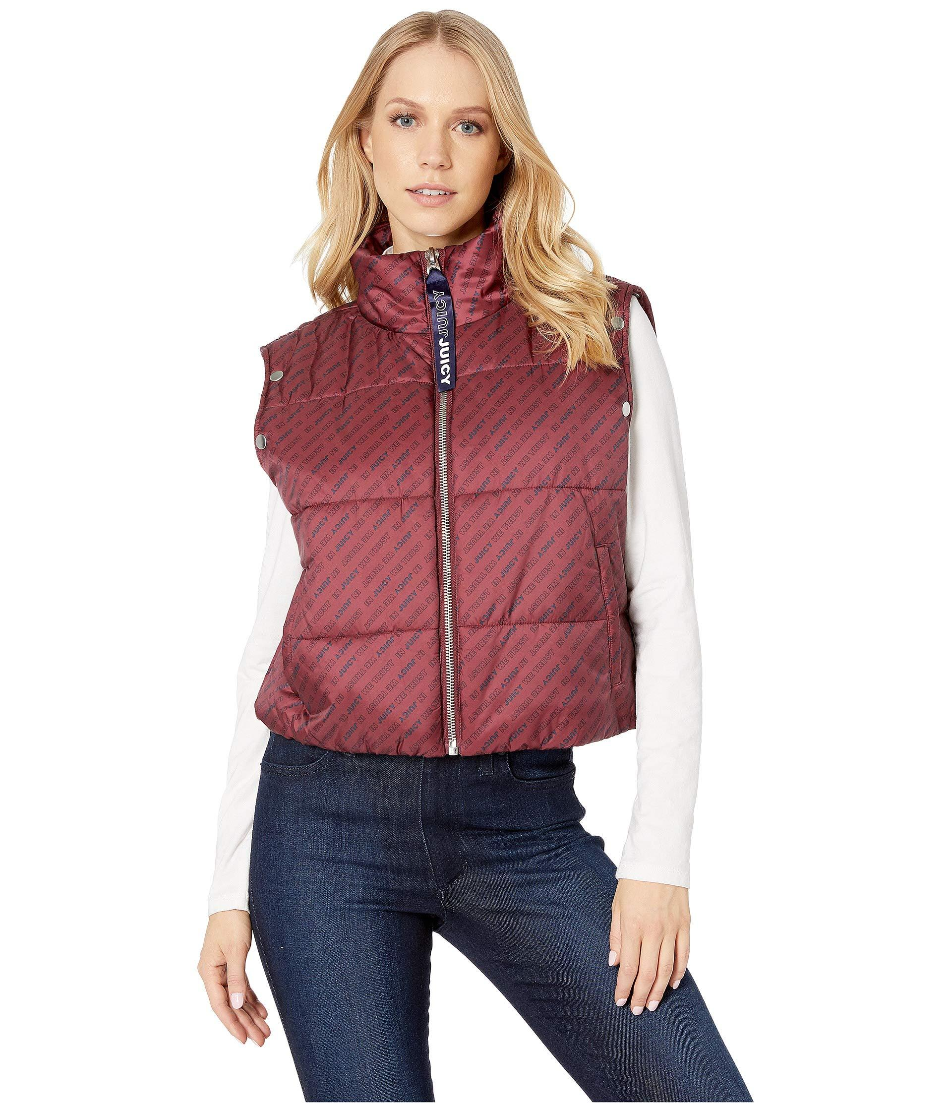 28919d78f2 Juicy Couture - Red Jxjc Repeat Snap Off Sleeve Puffer Jacket - Lyst. View  fullscreen
