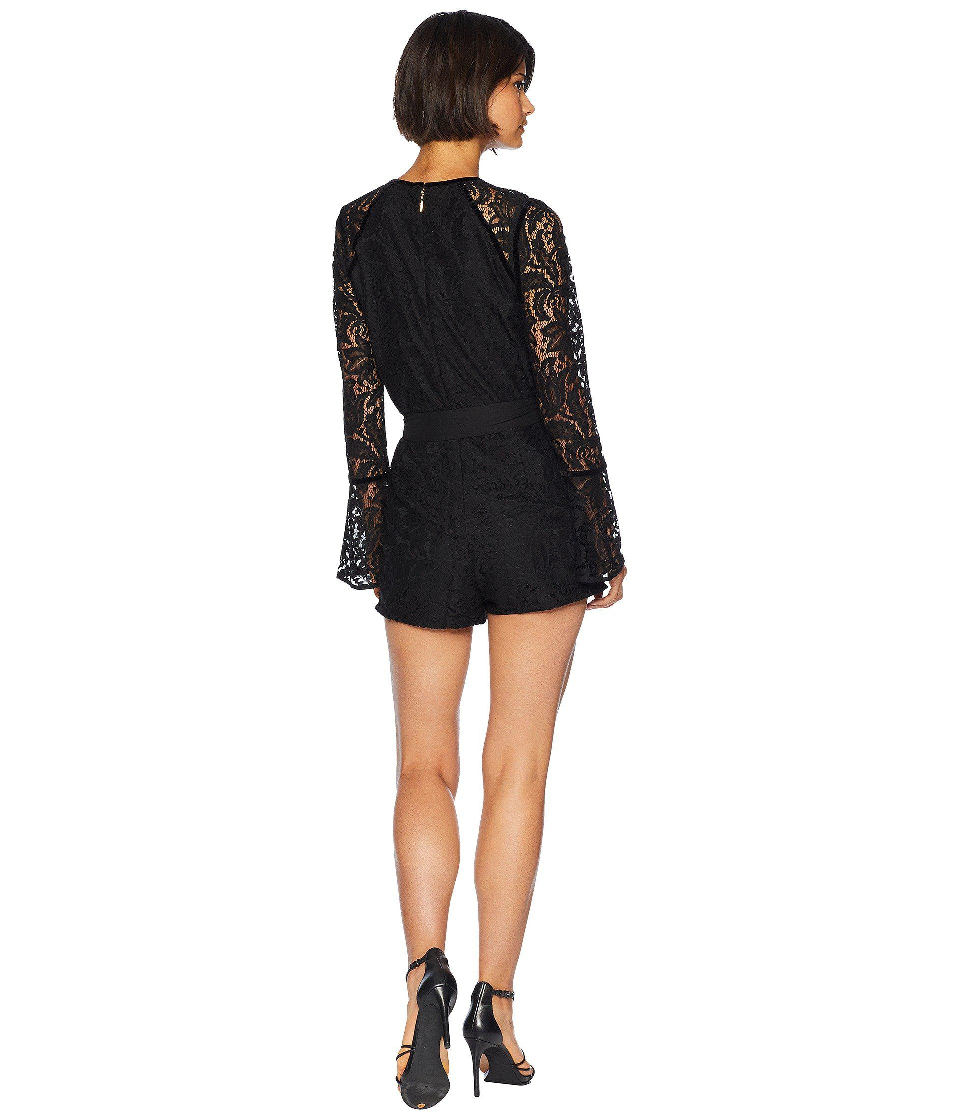 718dc6ba3e09 Lyst - Juicy Couture Knit Two-tone Leafy Lace Romper in Black