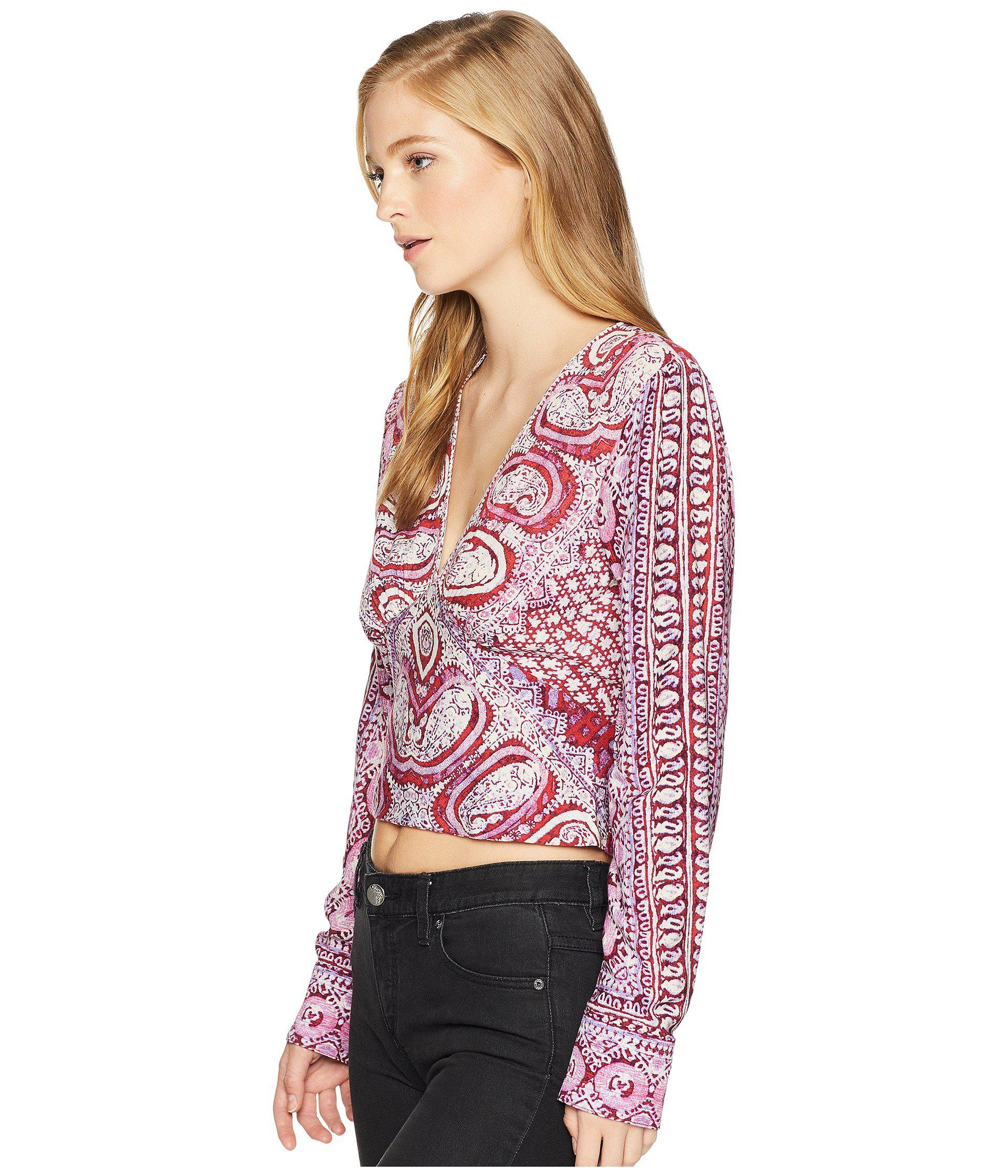 738ef134af992 Lyst - Free People Wild And Free Blouse in Red