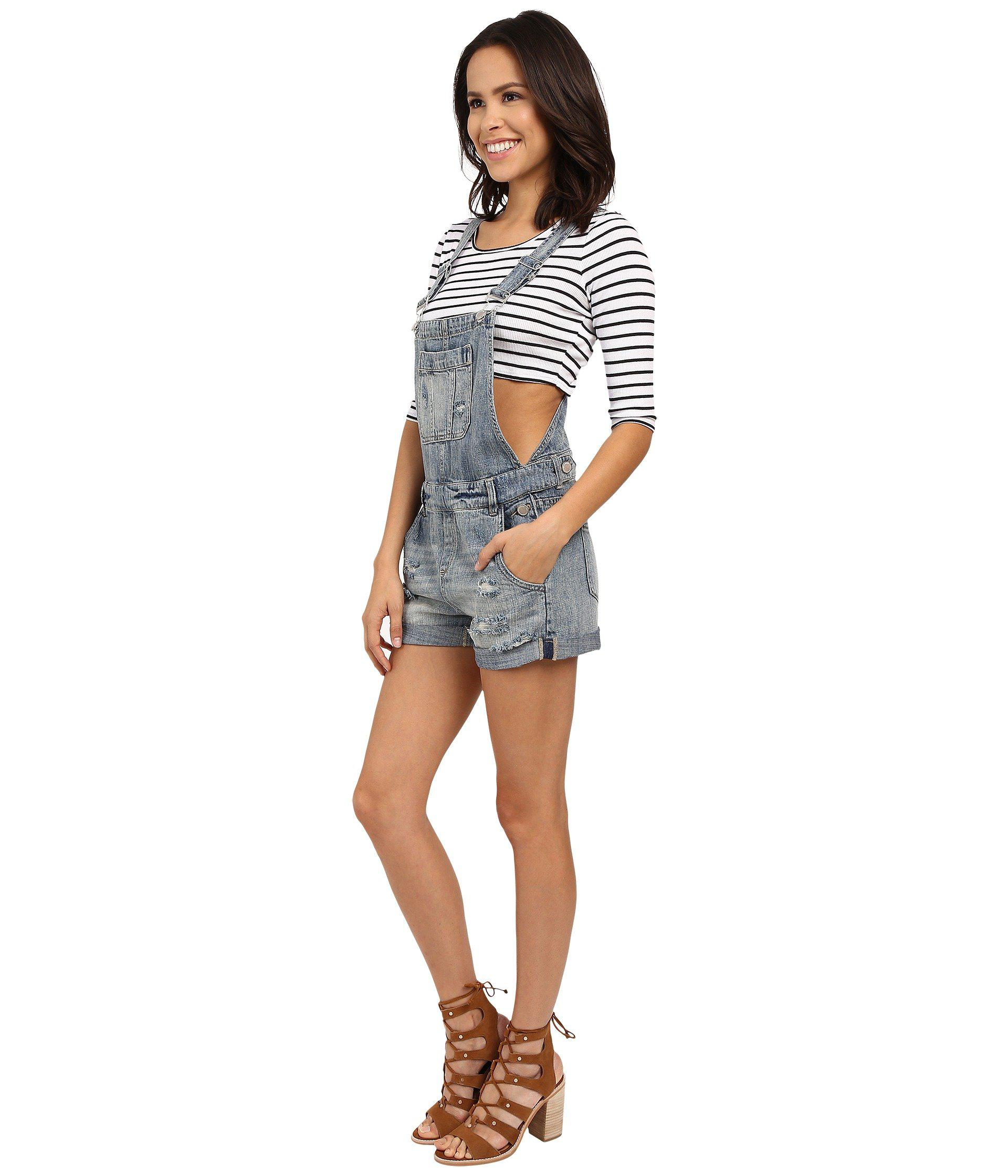24d7cc0efe Lyst - Blank NYC Denim Short Overalls in Blue - Save 42%