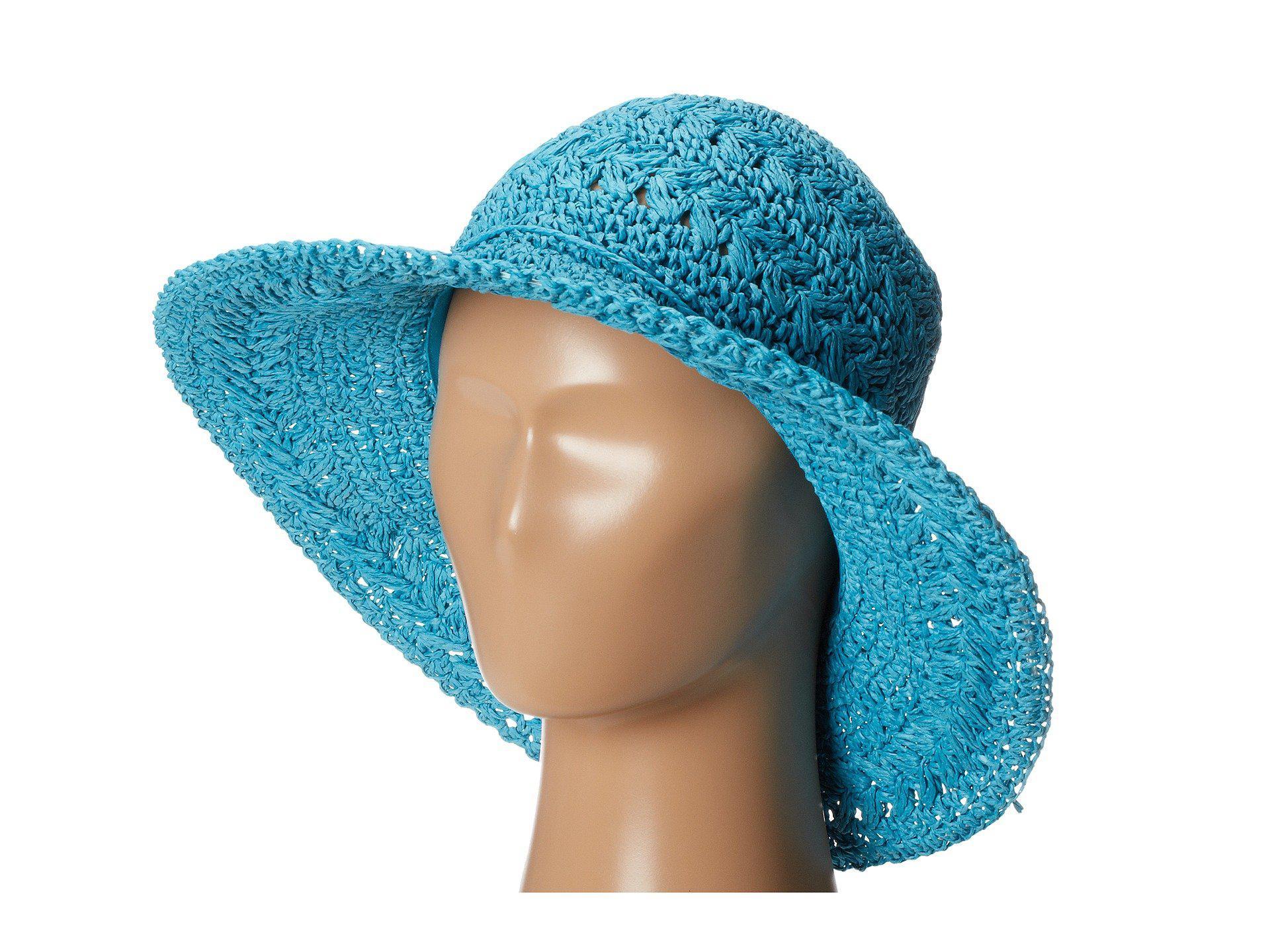 c60e983fafe552 Lyst - San Diego Hat Company Medium Brim Crochet Floppy in Blue