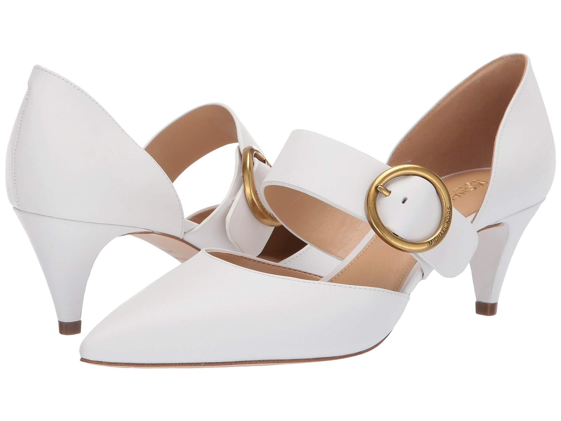d0747e7f5c66 Lyst - MICHAEL Michael Kors Estelle Kitten Pump in White - Save 53%