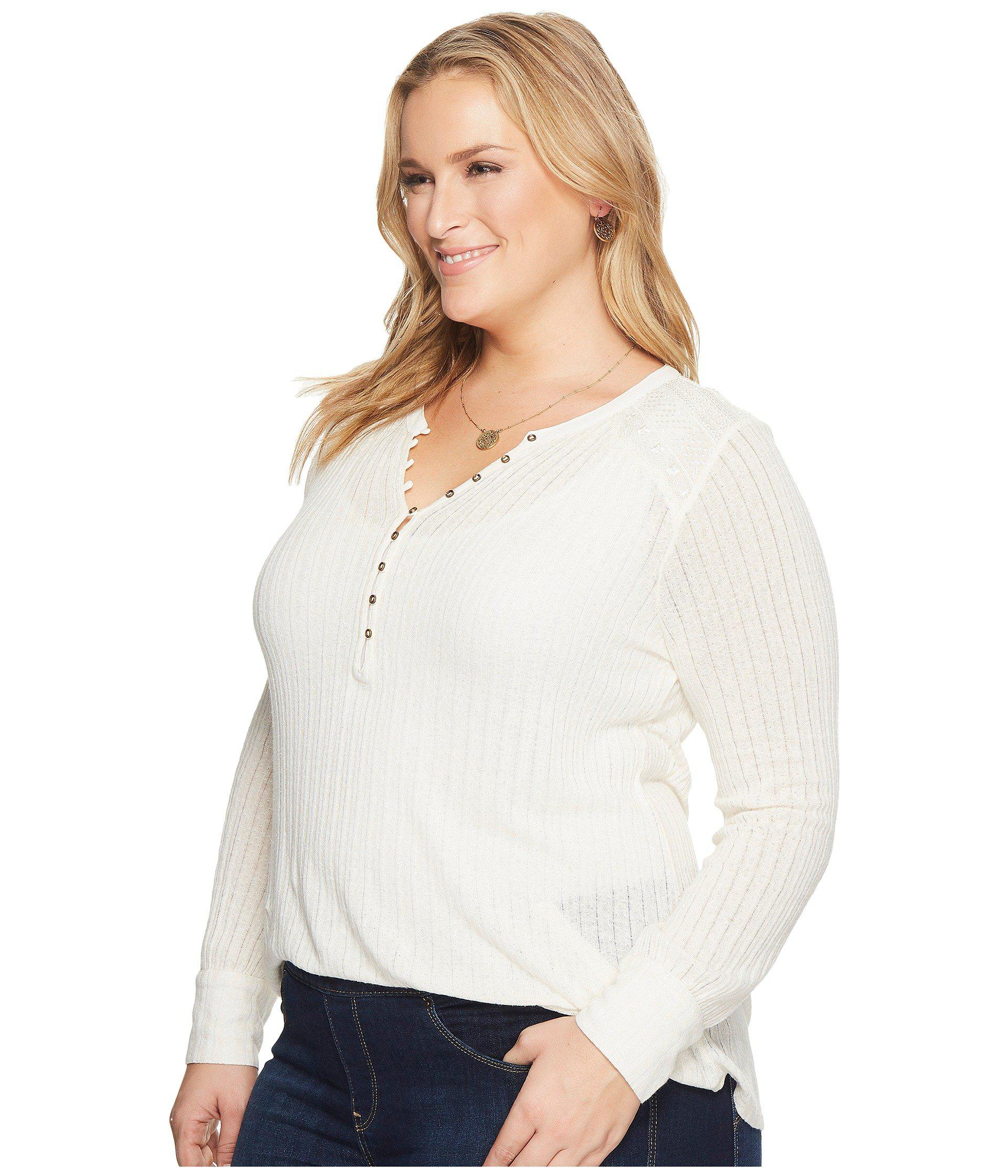 1ae48fa30d8 Lyst - Lucky Brand Plus Size Embroidered Mix Henley in White - Save 18%