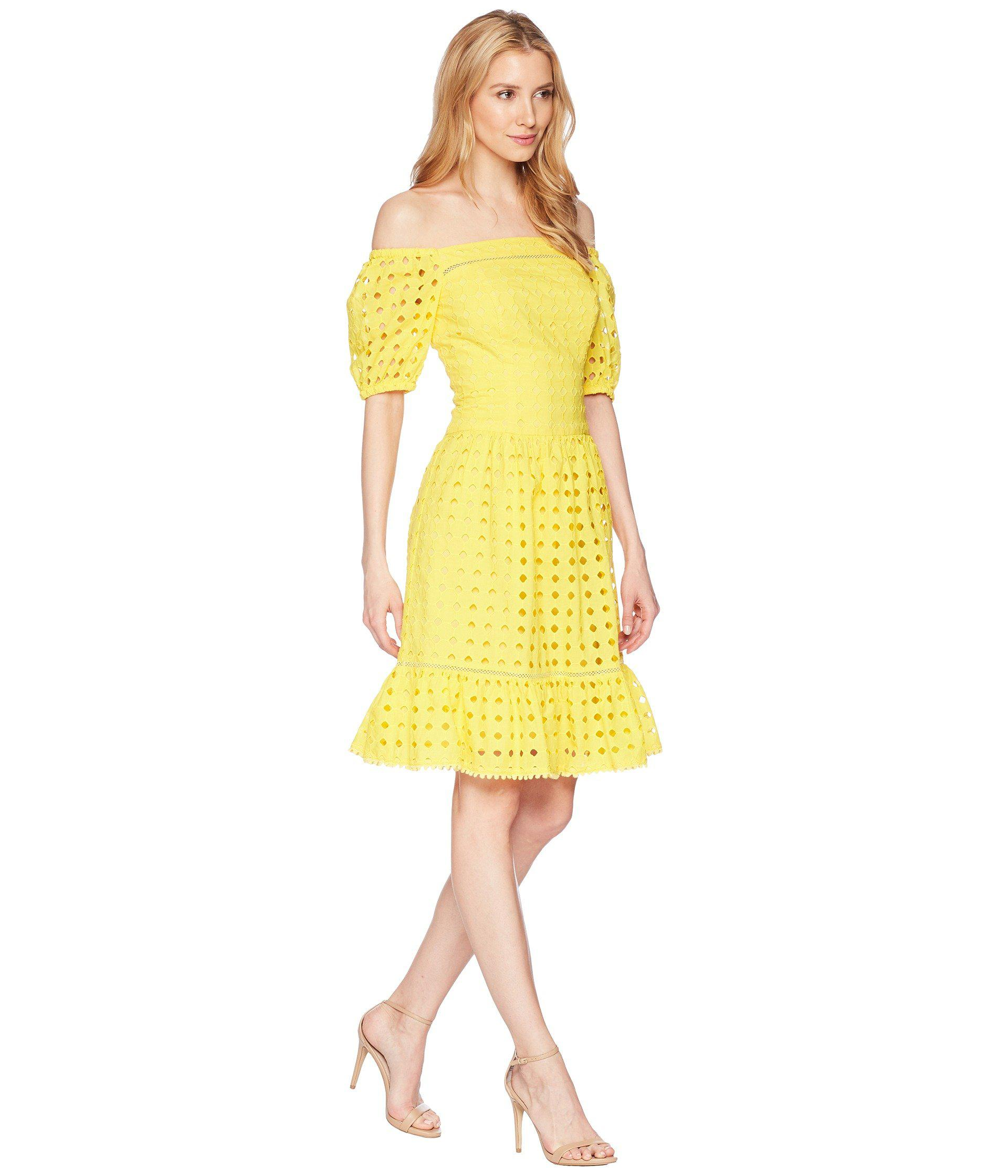 Donna Morgan Yellow Short Sleeve Off The Shoulder Eyelet Dress Lyst View Fullscreen