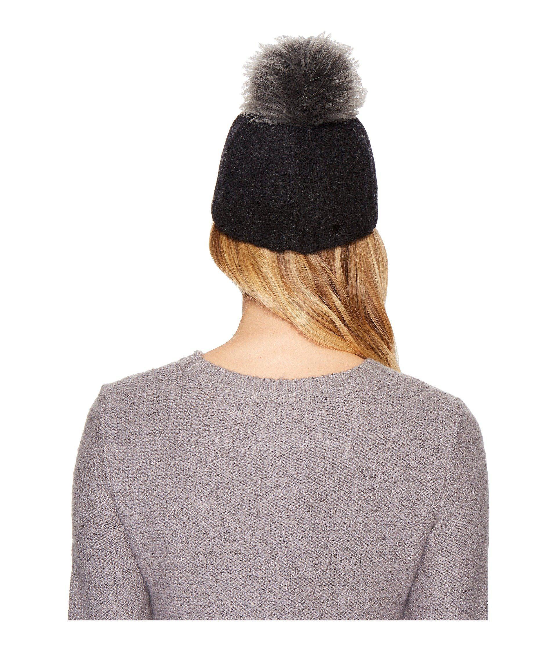 a8f8fcb3c1fc8 Lyst - UGG Fabric Baseball Hat With Fur Pom