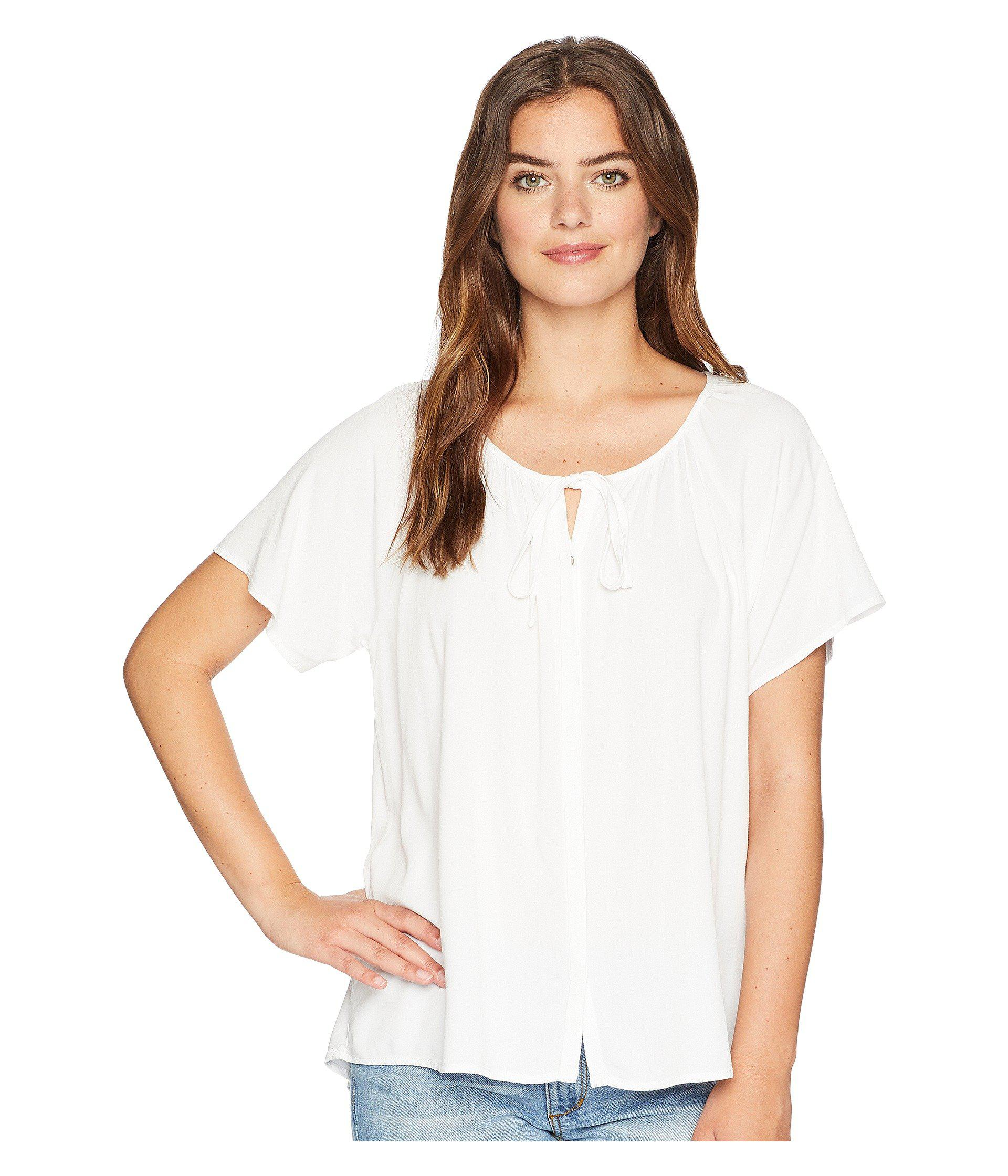 444b87a86136b5 Lyst - Michael Stars Rylie Rayon Button Up Peasant Top in White ...